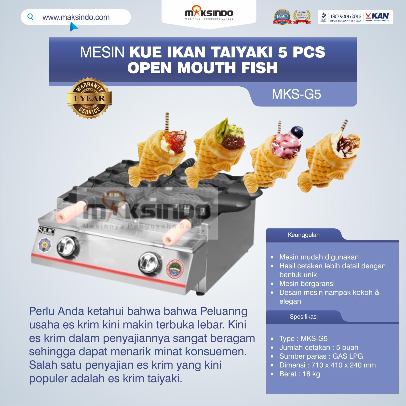 Jual Mesin Kue Ikan Taiyaki 5 Pcs – Open Mouth Fish di Semarang