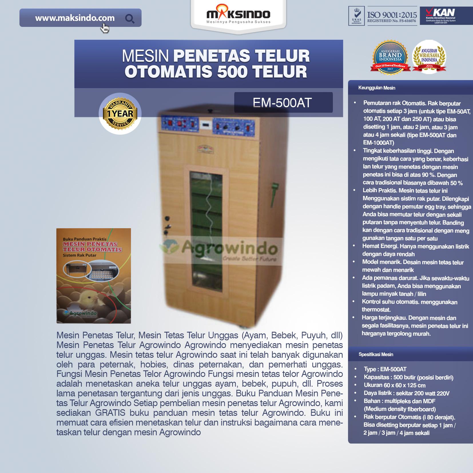 Jual Mesin Penetas Telur Otomatis 500 Telur (EM-500AT) di Semarang