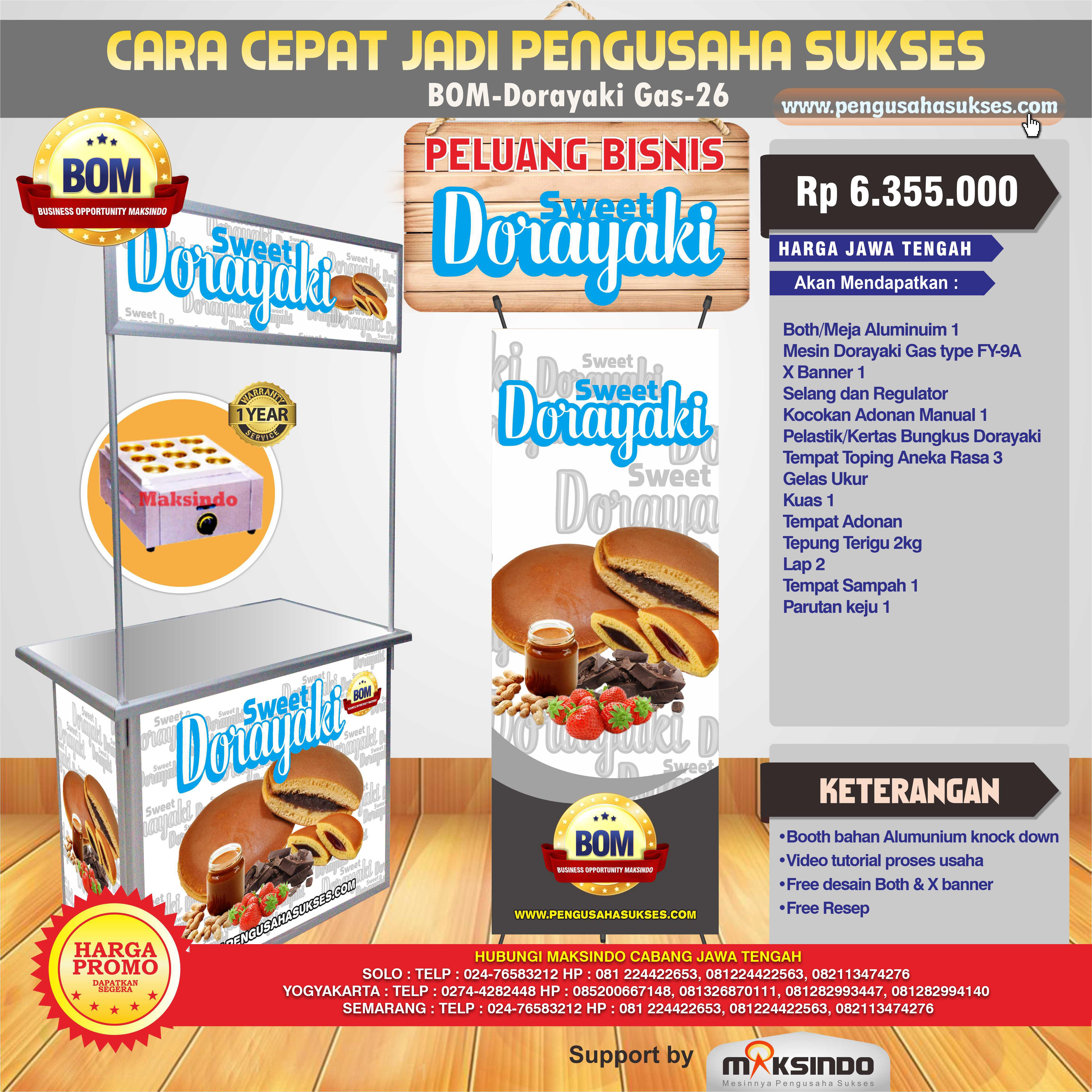 Paket Usaha Sweet Dorayaki ( Gas ) Program BOM