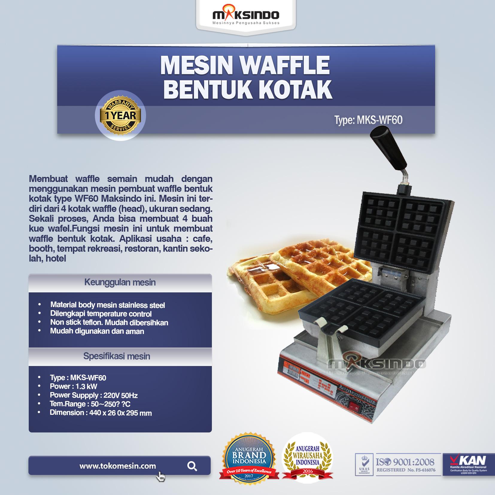 Jual Mesin Waffle Bentuk Kotak (WF-60) di Semarang