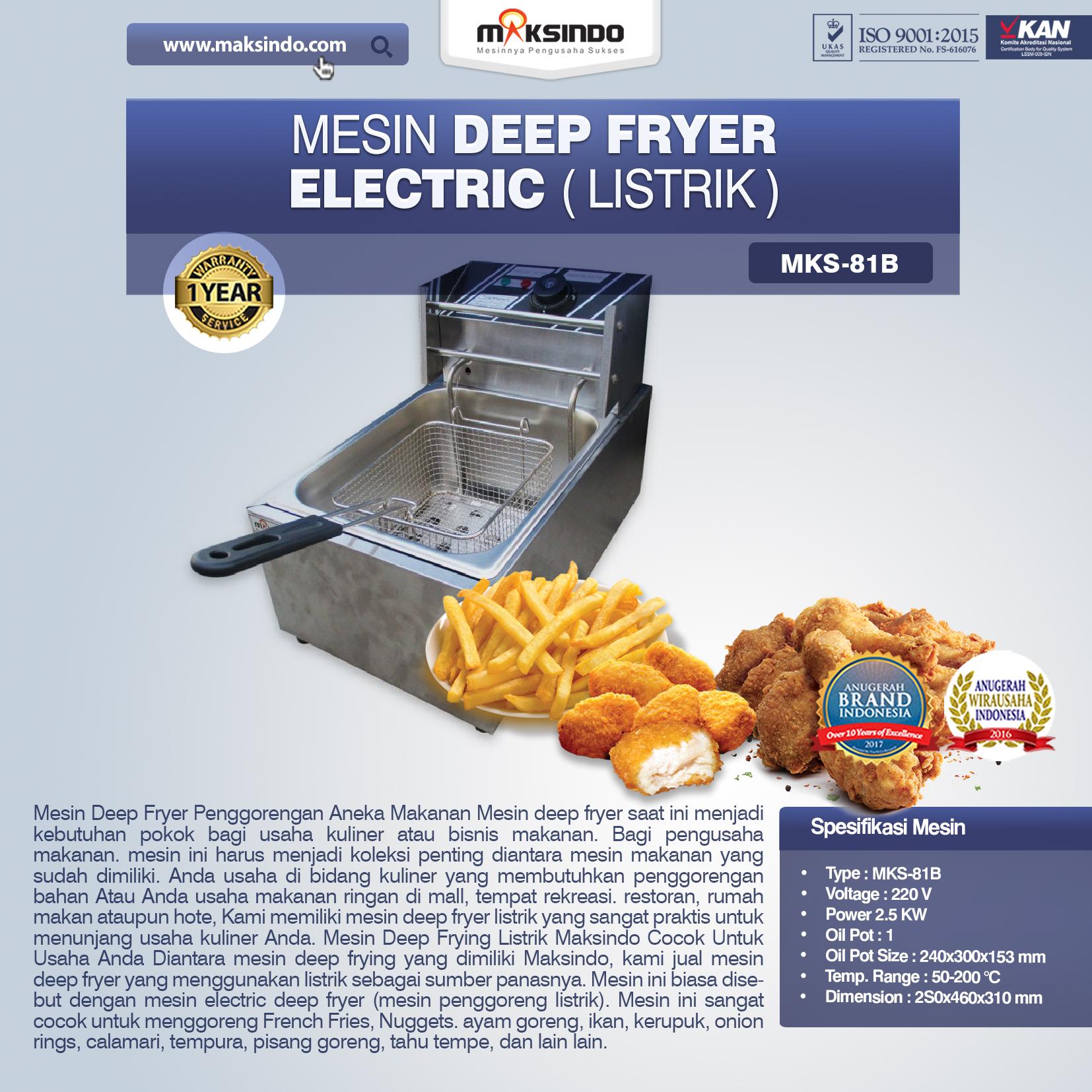 Jual  Mesin Deep Fryer Listrik MKS-81B  di Semarang