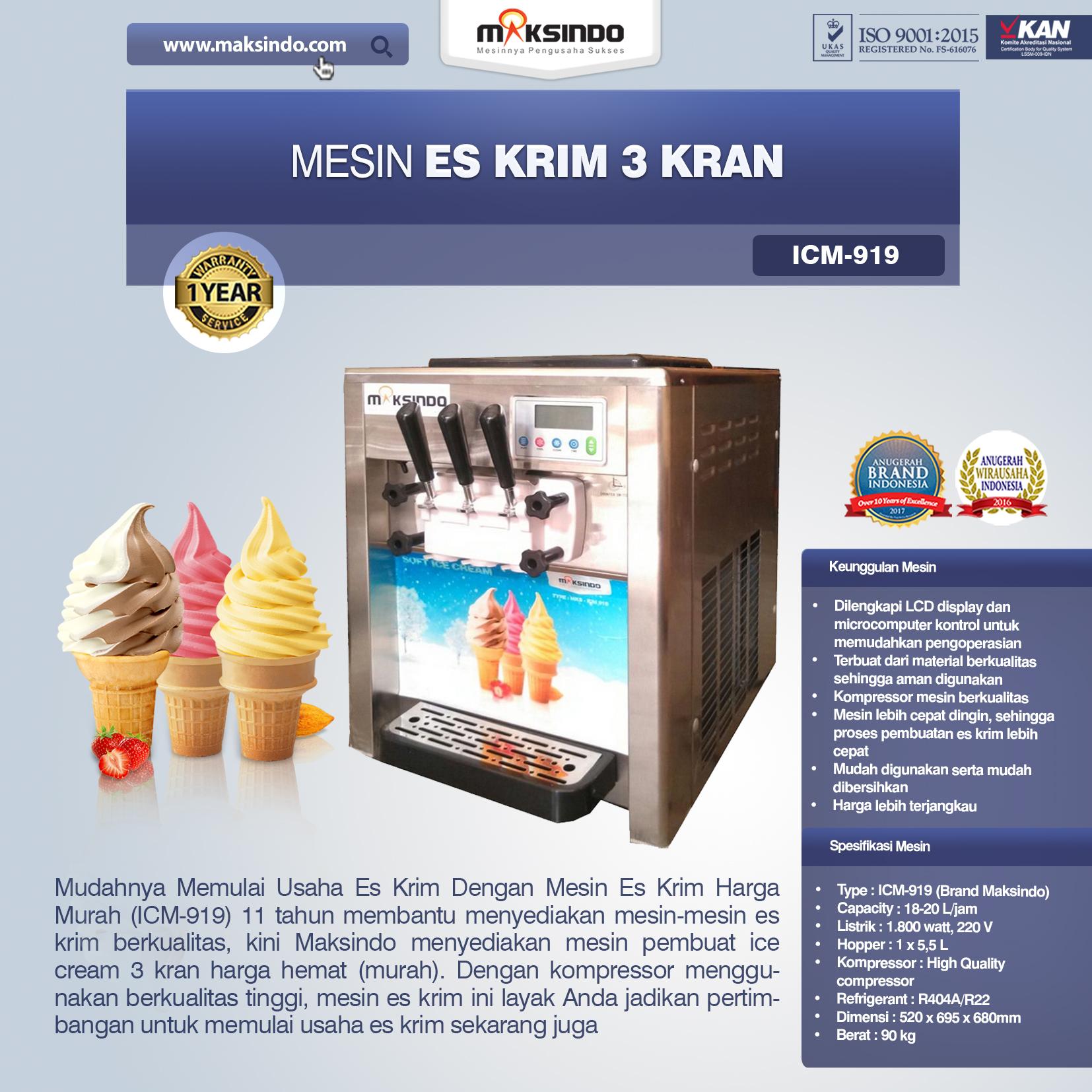 Jual Mesin Es Krim 3 Kran (Japan Kompressor) di Semarang