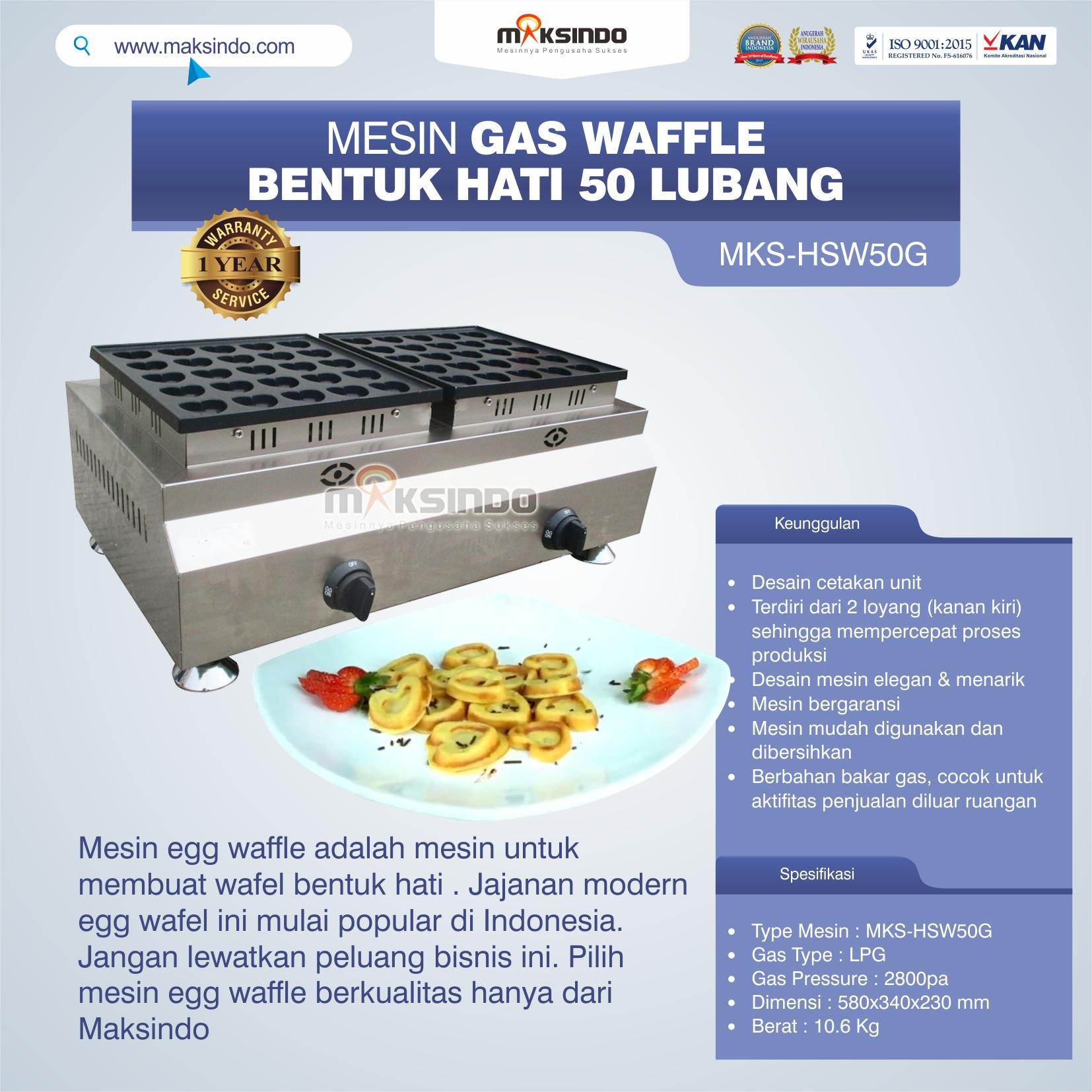 Jual Mesin Waffle Gas Bentuk Hati 50 Lubang MKS-HSW50G di Semarang