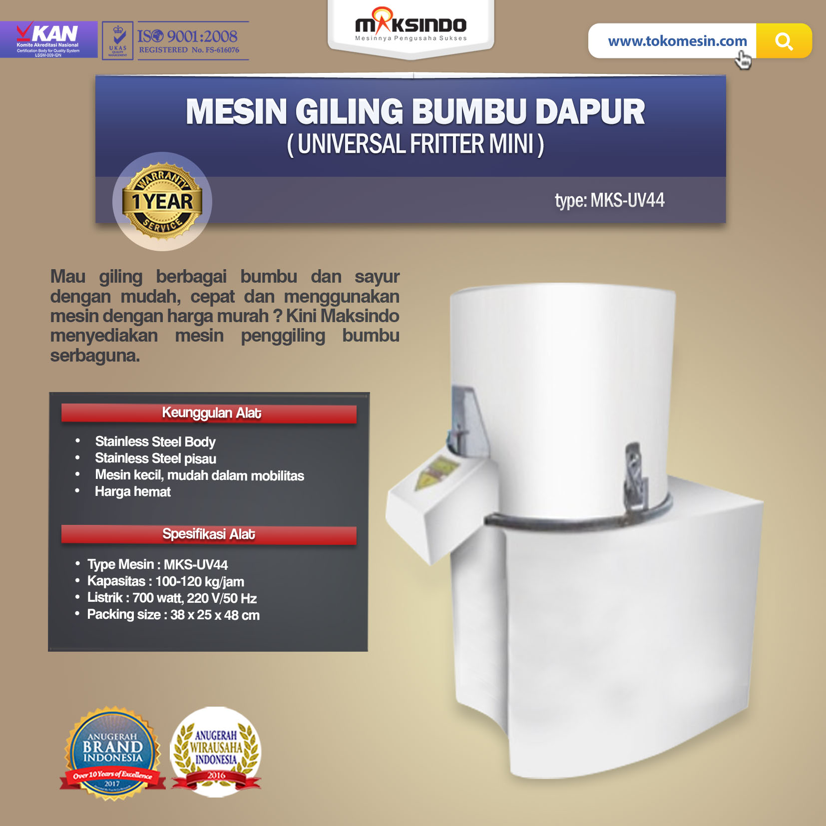 Jual Mesin Giling Bumbu Dapur (Universal Fritter Mini) MKS-UV44 di Semarang