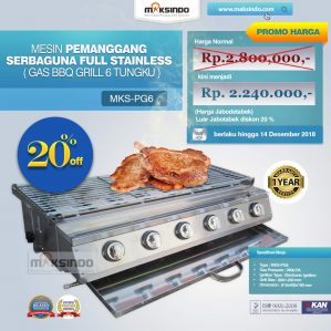 Jual Pemanggang Serbaguna – Gas BBQ Grill 6 Tungku di Semarang
