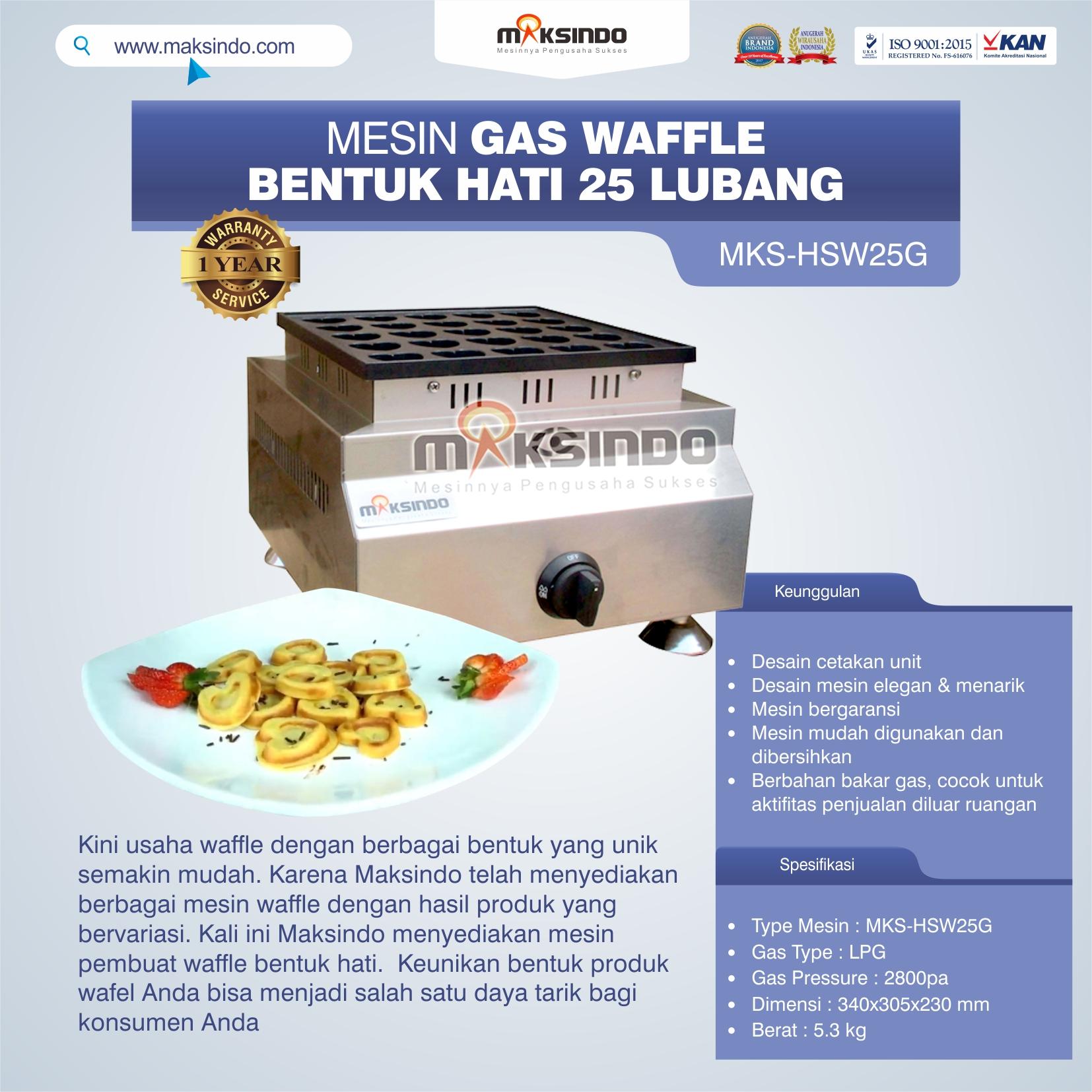 Jual Gas Waffle Bentuk Hati 25 Lubang MKS-HSW25G di Semarang
