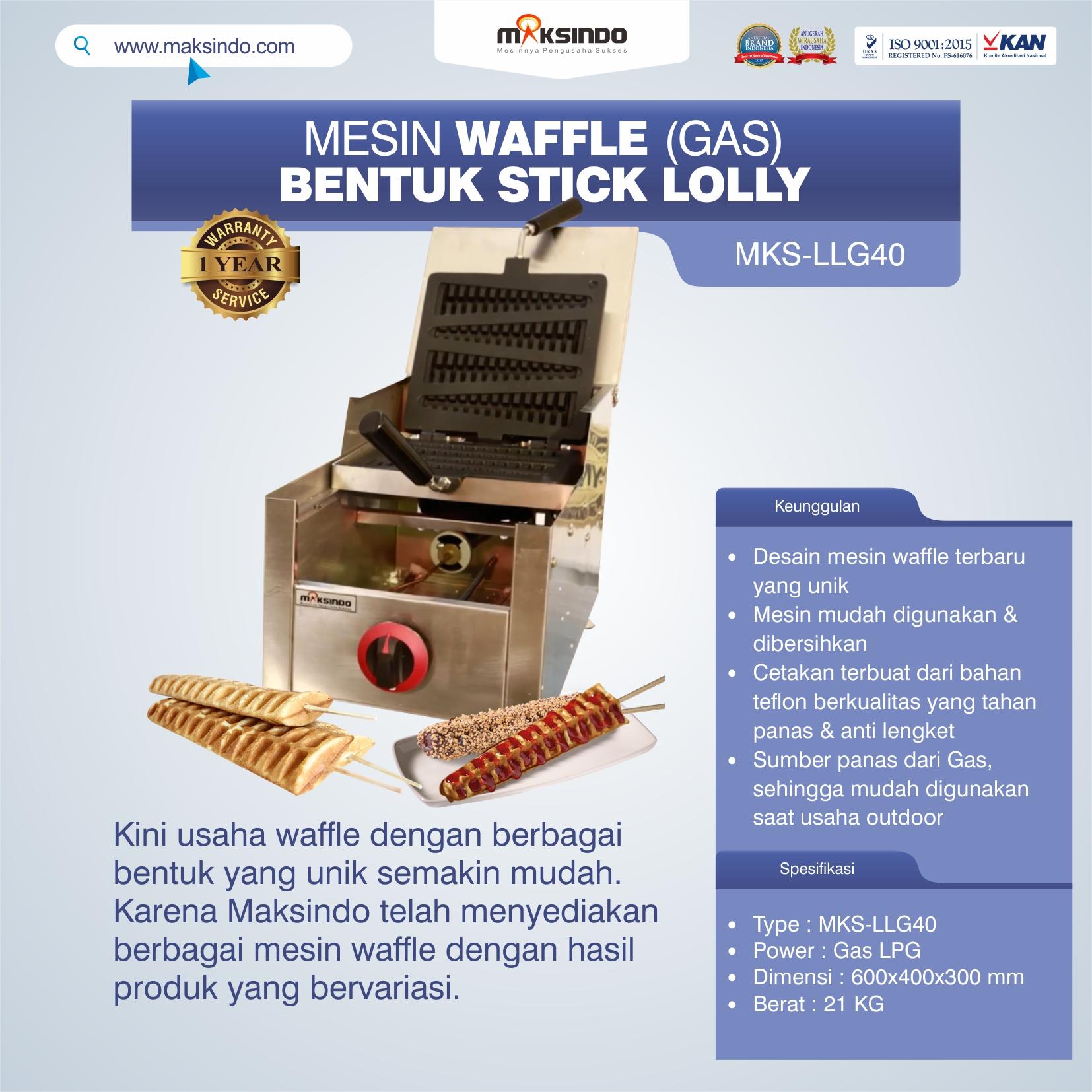 Jual Mesin Waffle Bentuk Stick Lolly (Gas) MKS-LLG40 di Semarang