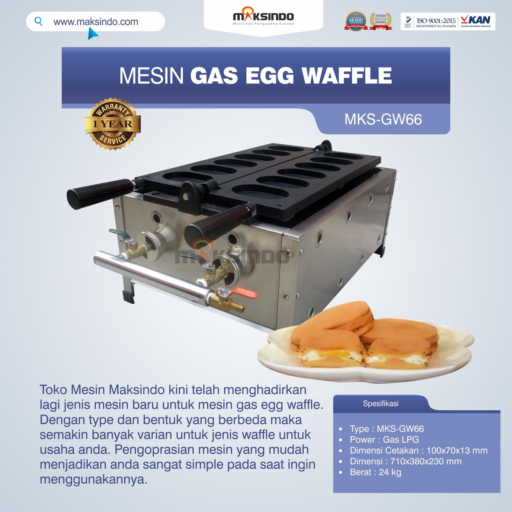 Jual Mesin Gas Egg Waffle MKS-GW66 di Semarang