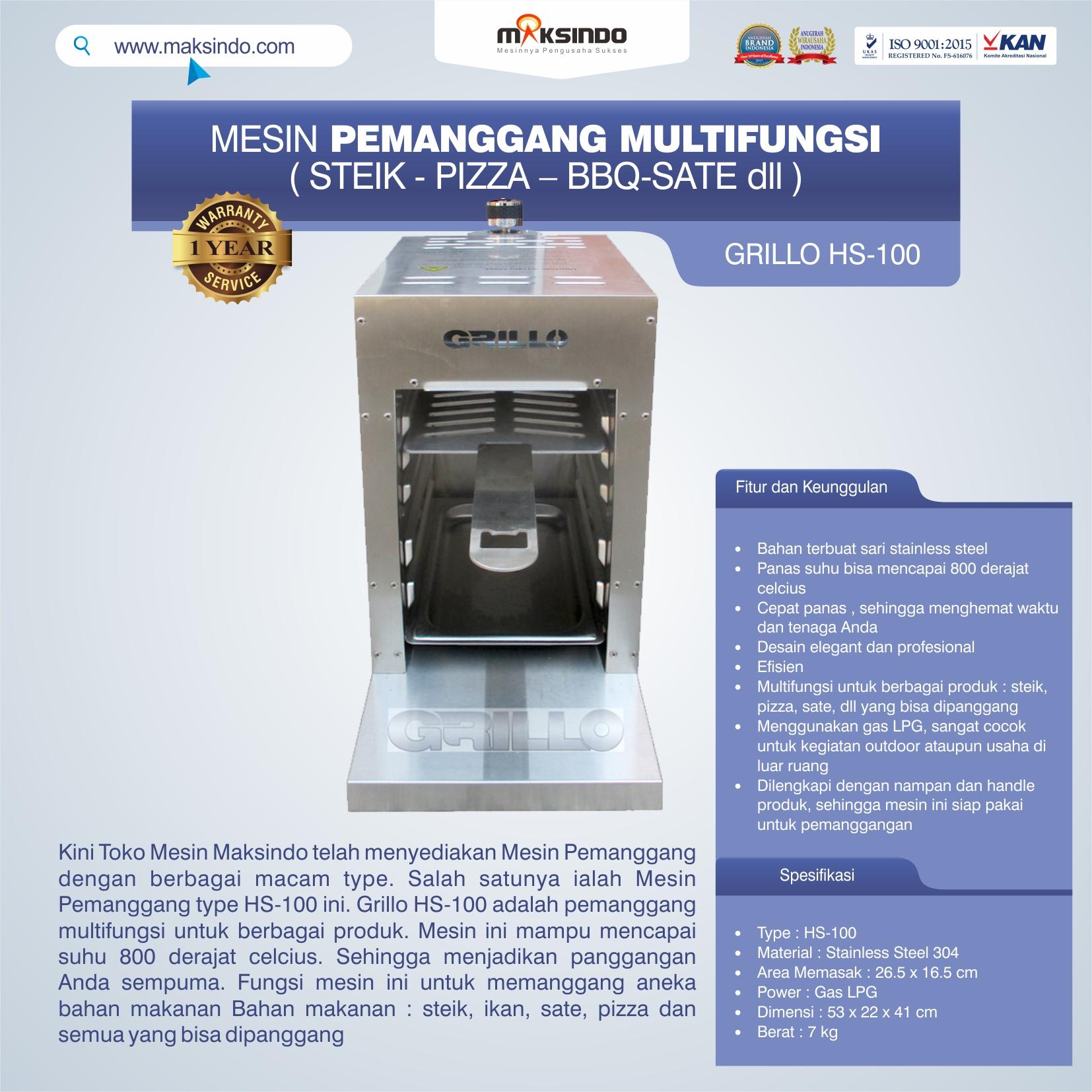 Jual Mesin Pemanggang Steik – Pizza (GRILLO  HS-100) di Semarang