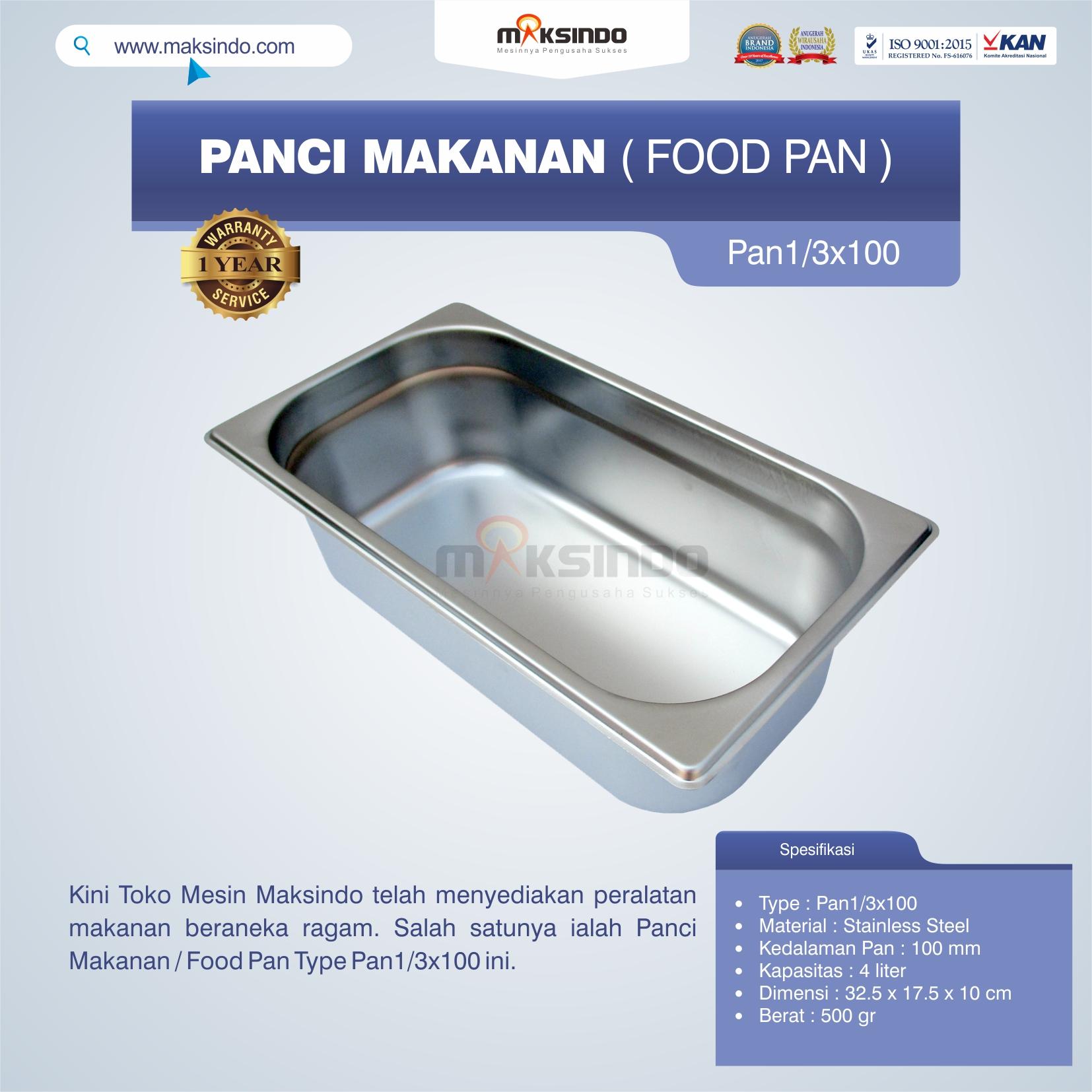 Jual Panci Makanan / Food Pan Type Pan1/3×100 di Semarang