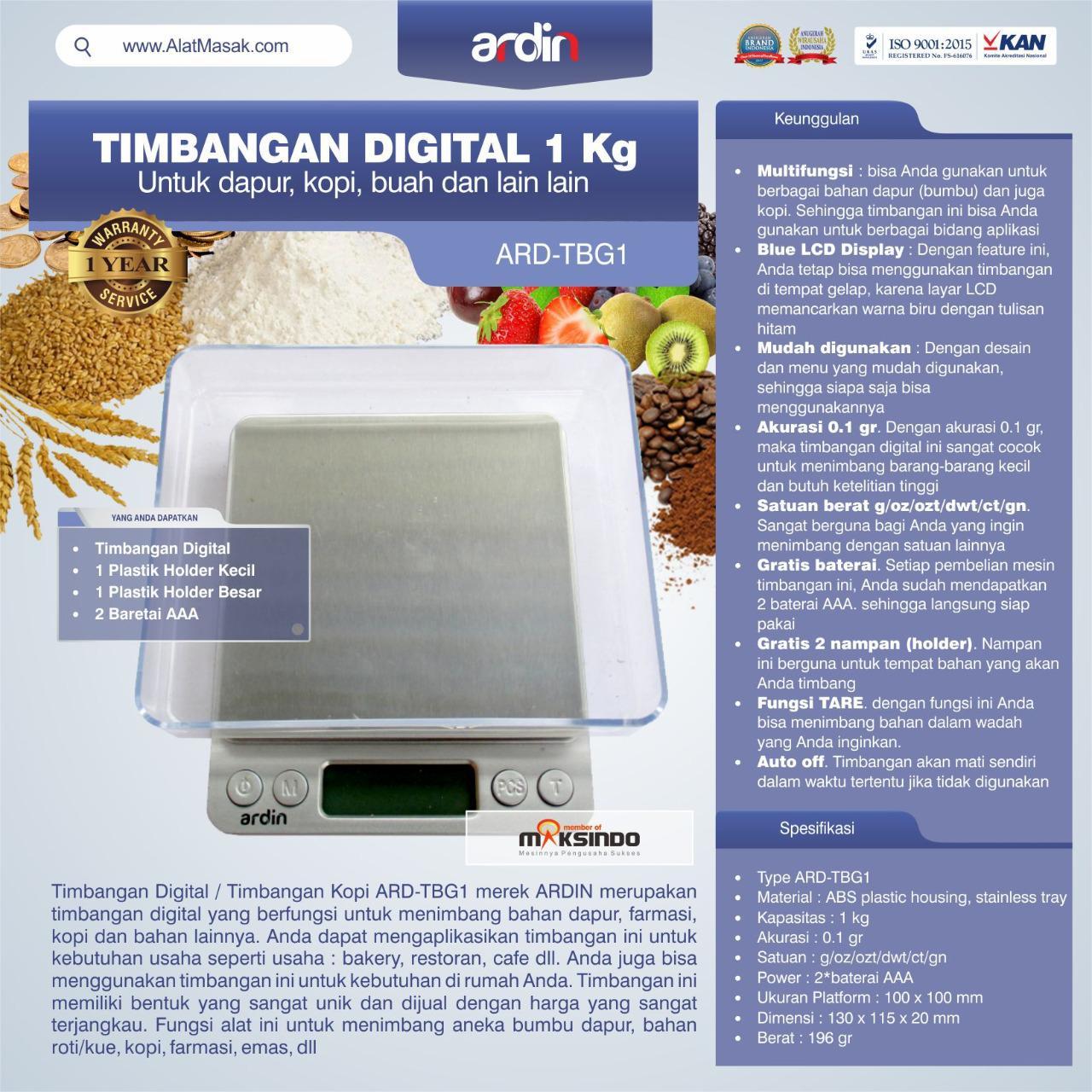 Jual Timbangan Digital Dapur 1 kg / Timbangan Kopi ARD-TBG1 di Semarang