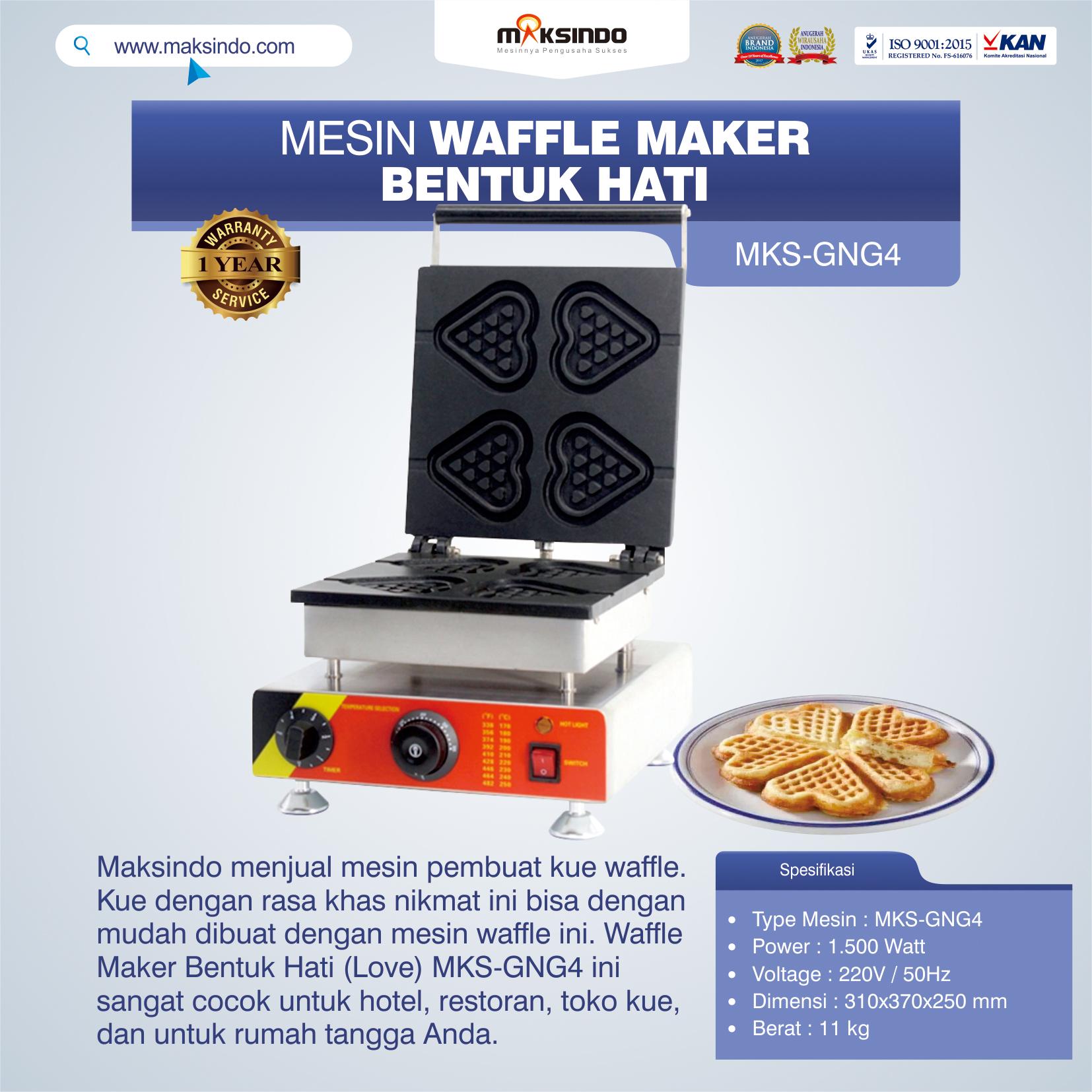 Jual Mesin Waffle Maker Bentuk Hati (Love) MKS-GNG4 di Semarang