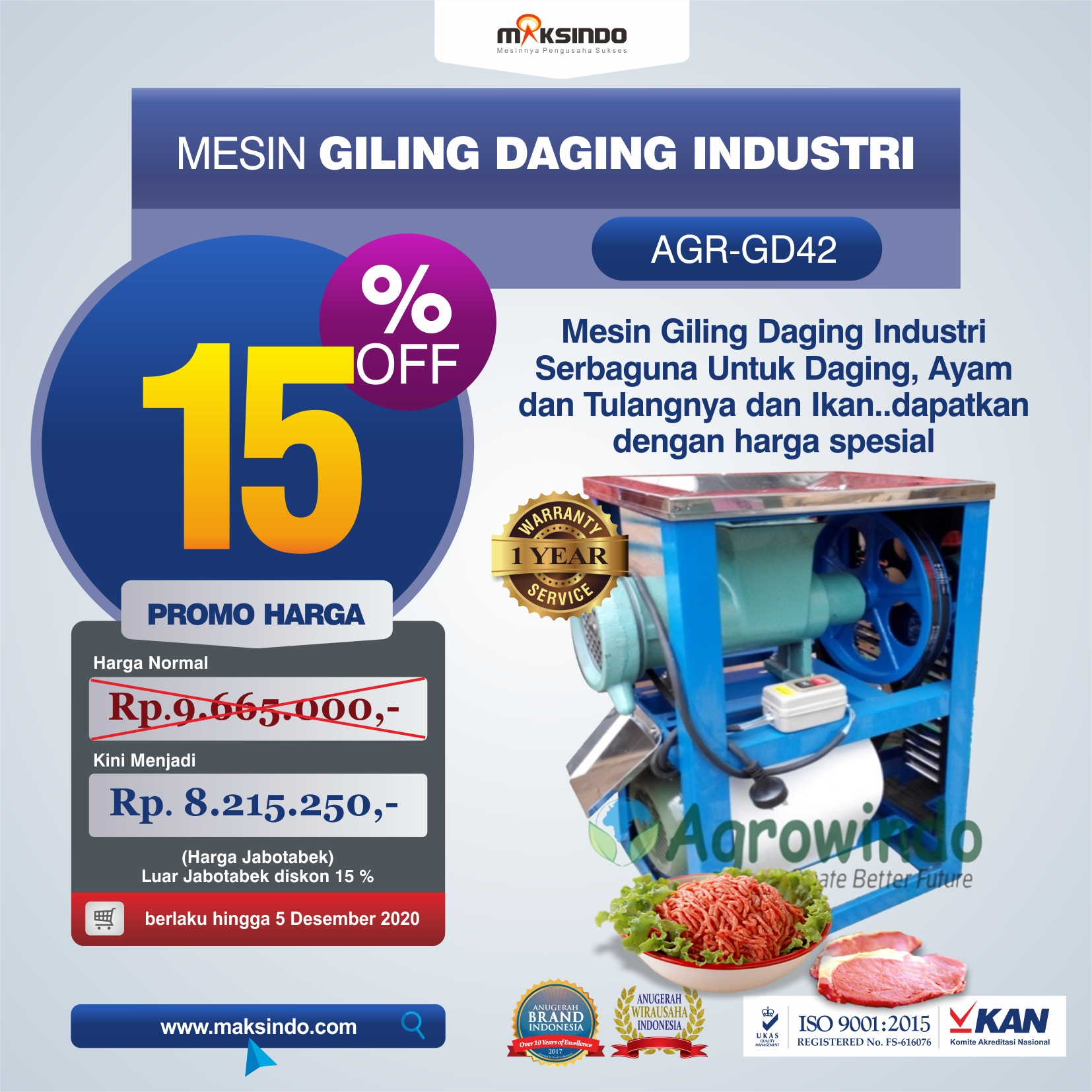 Jual Mesin Giling Daging Industri (AGR-GD42) di Semarang