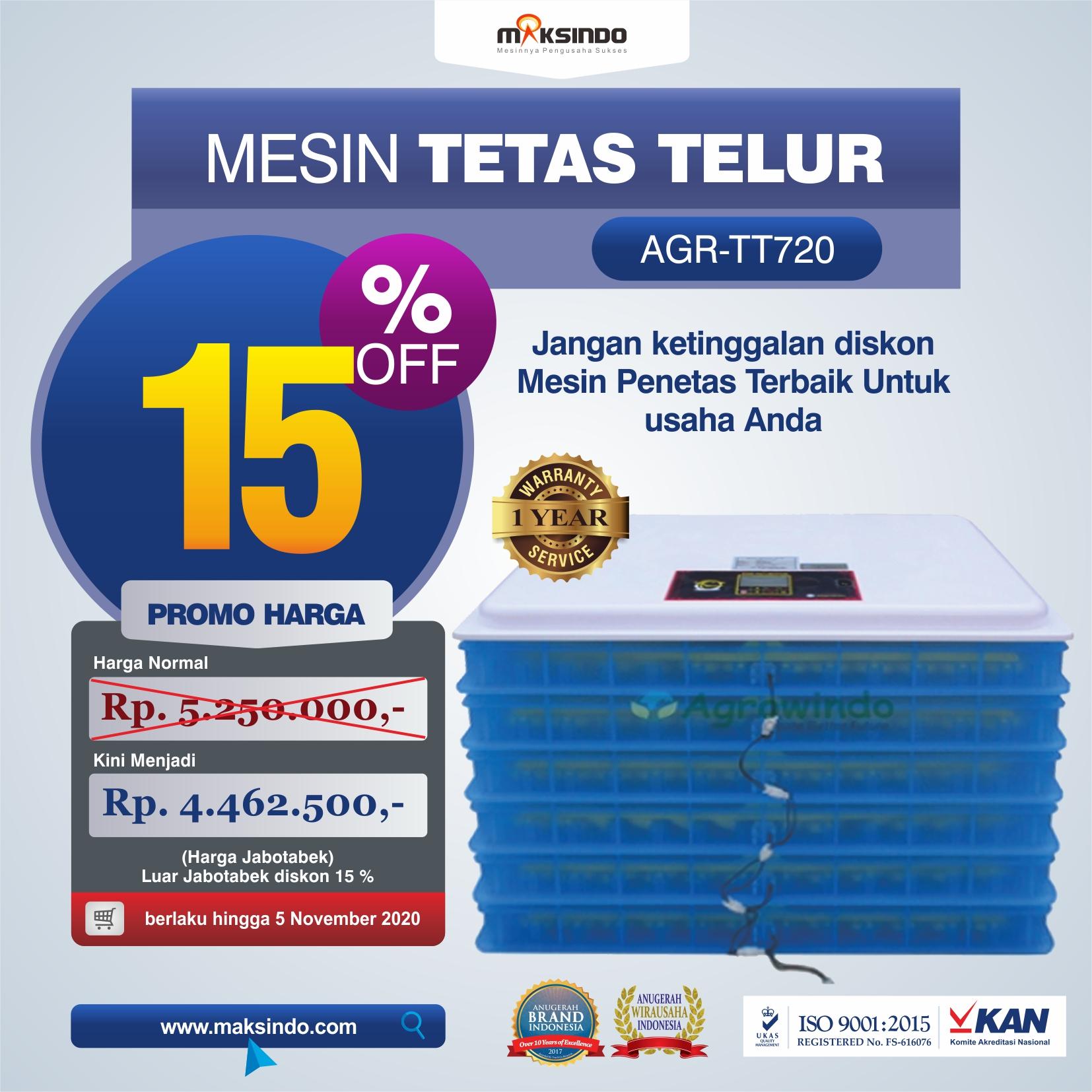 Jual Mesin Penetas Telur AGR-TT720 di Semarang