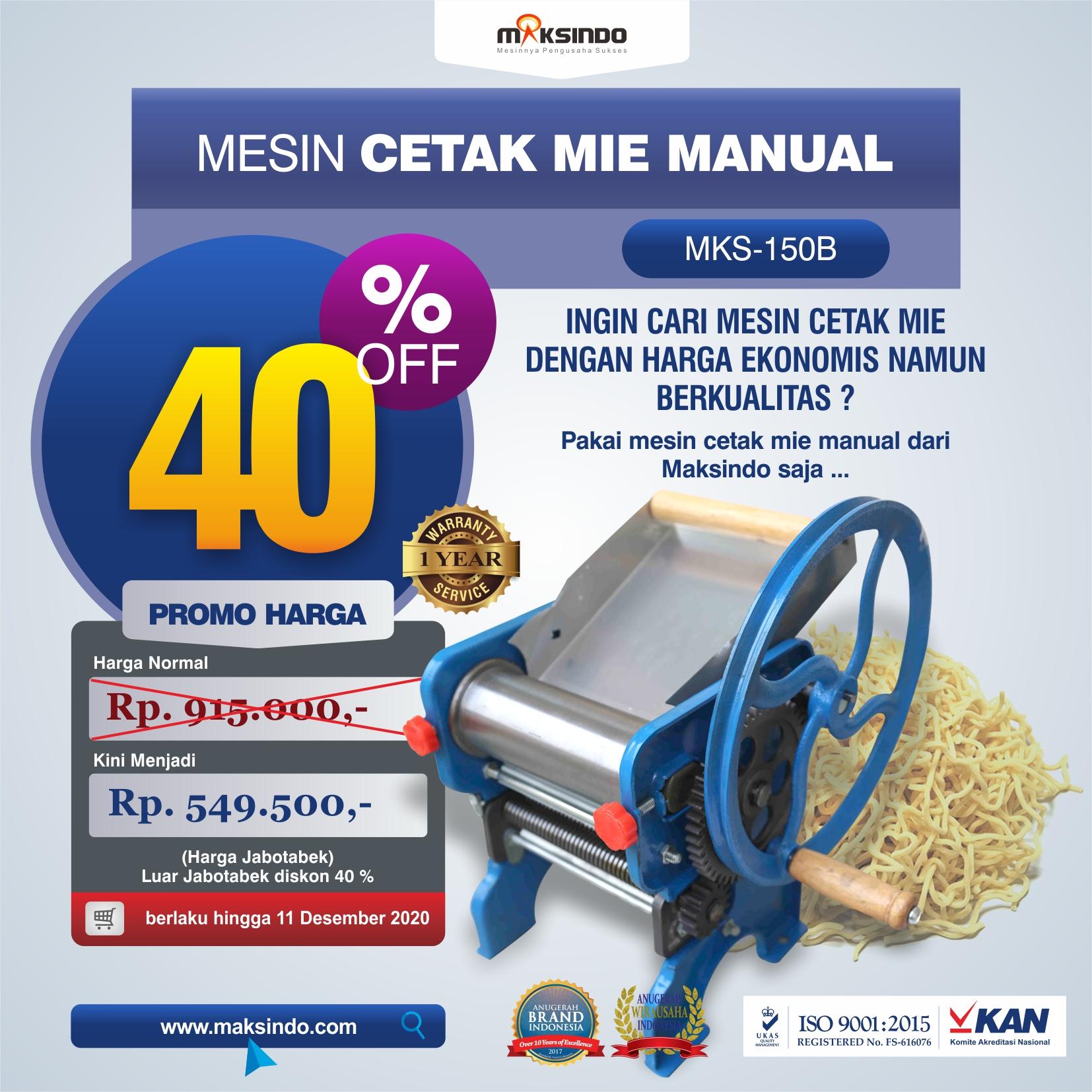 Jual Cetak Mie Manual Untuk Usaha (MKS-150B) di Semarang