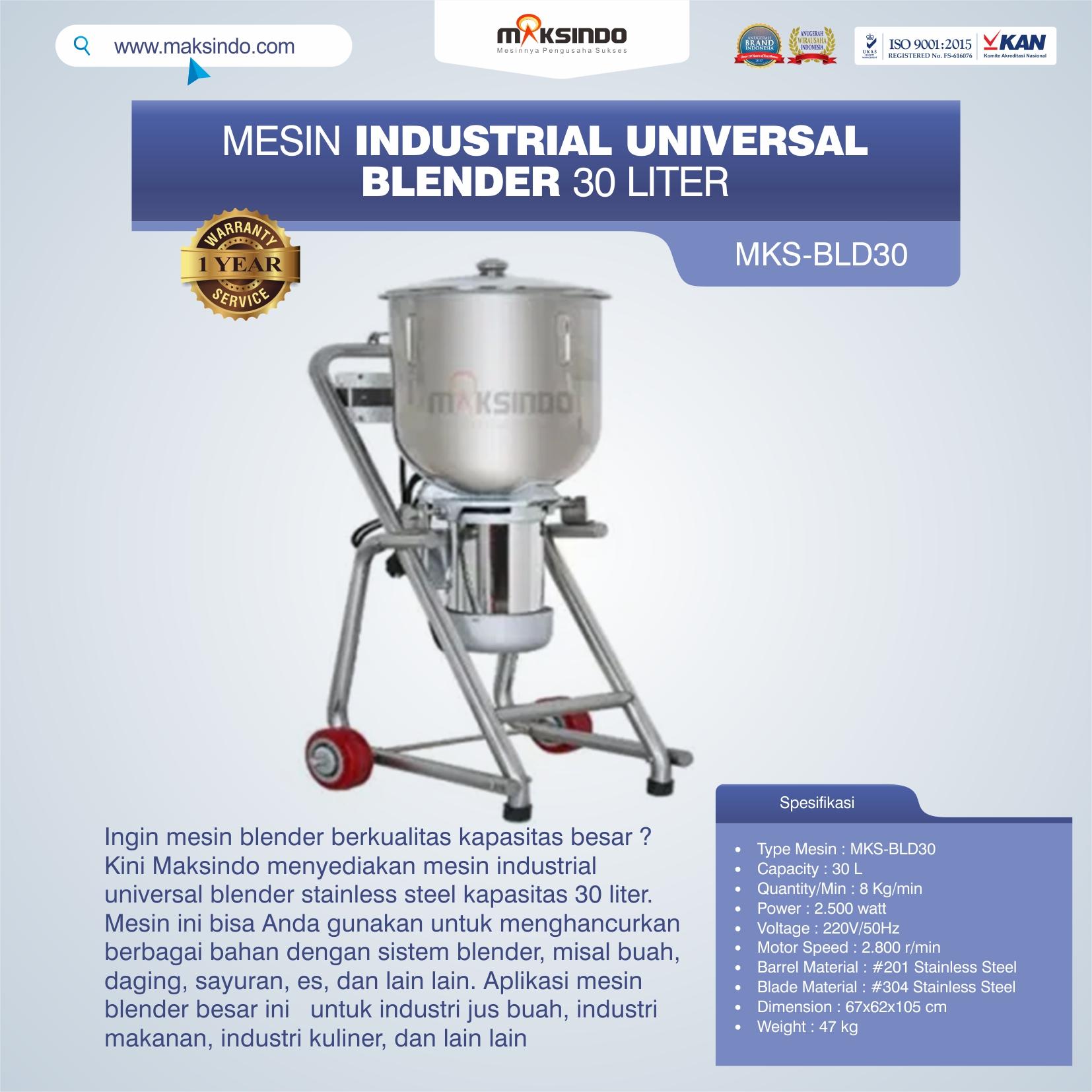 Jual Industrial Universal Blender 30 Liter MKS-BLD30 di Semarang