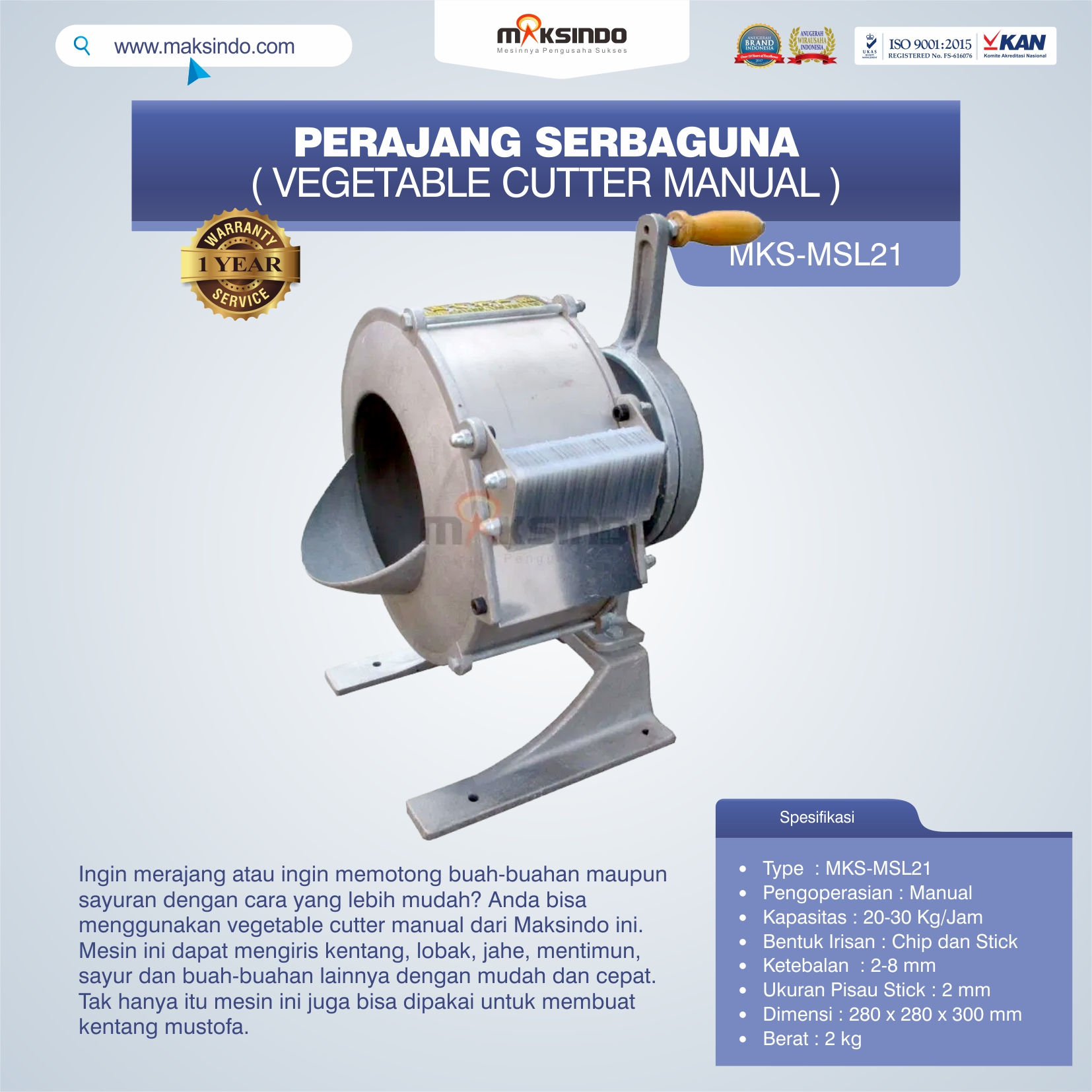 Jual Perajang Serbaguna (Vegetable Cutter Manual) MKS-MSL21 di Semarang