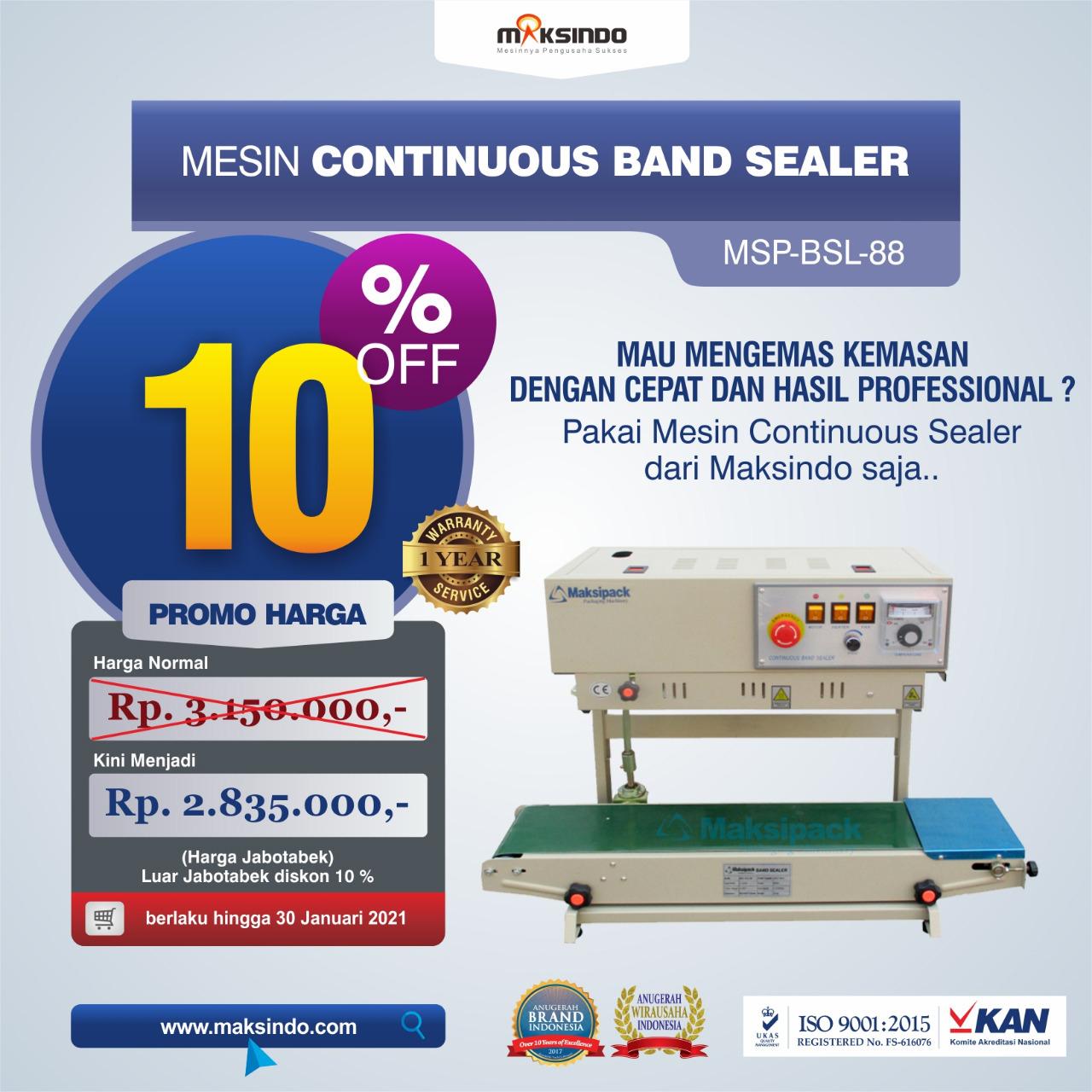 Jual Mesin Continuous Band Sealer MSP-BSL-88 di Semarang