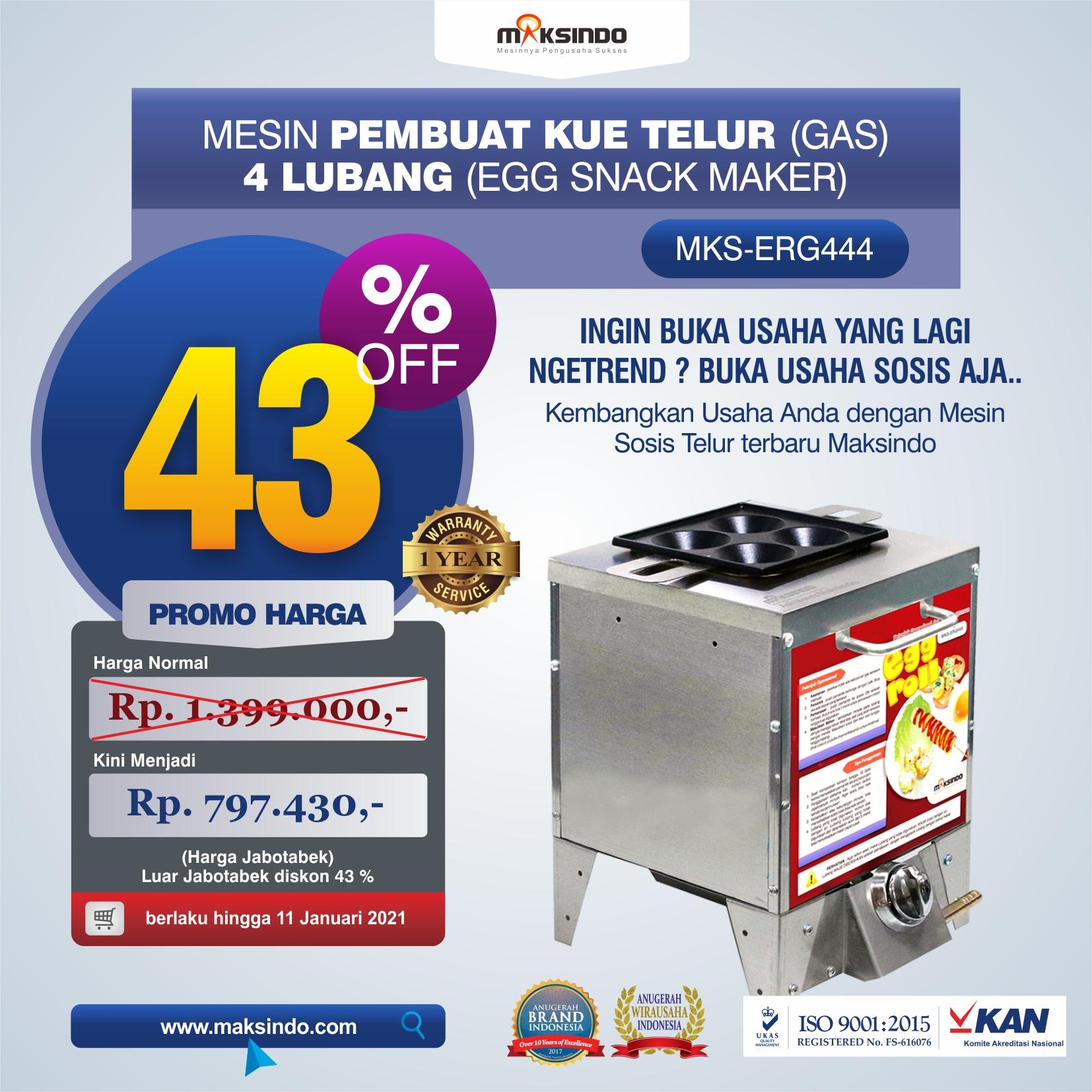 Jual Mesin Pembuat Egg Roll (Gas) 4 Lubang MKS-ERG444 di Semarang