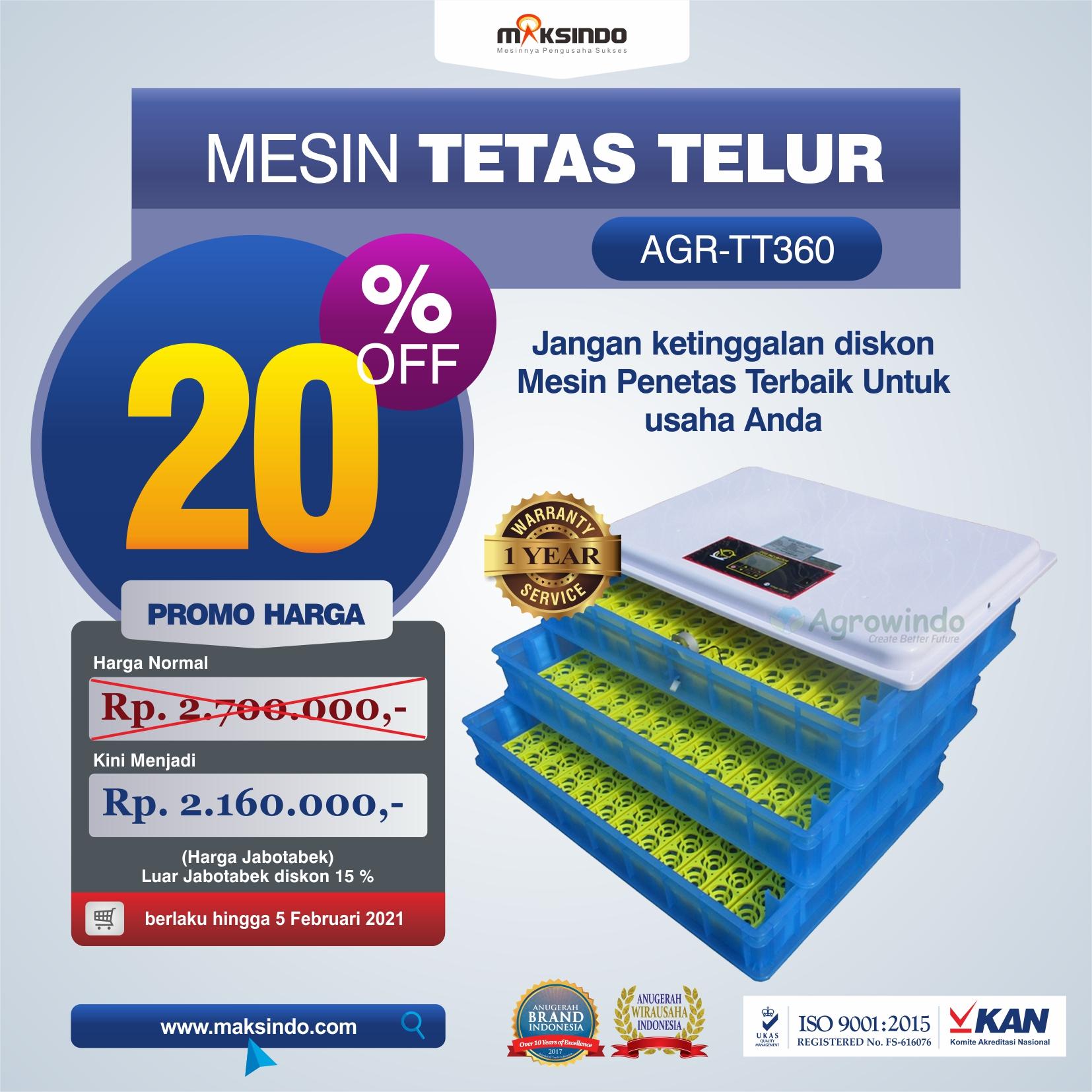 Jual Mesin Penetas Telur AGR-TT360 di Semarang
