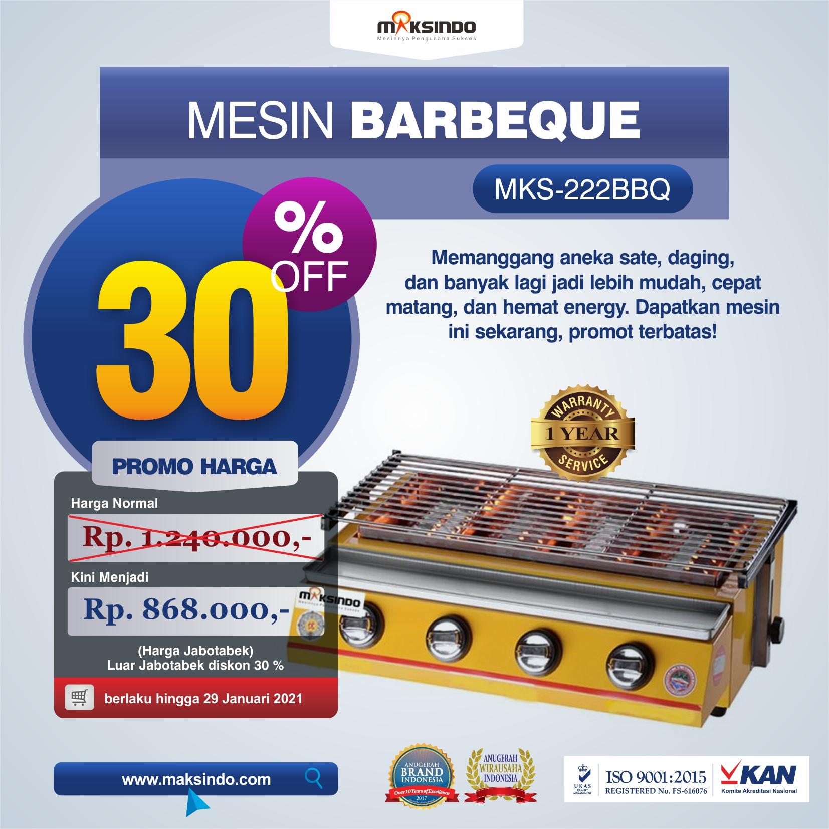Jual Mesin Pemanggang Sate – BBQ 4 Tungku (Gas) di Semarang