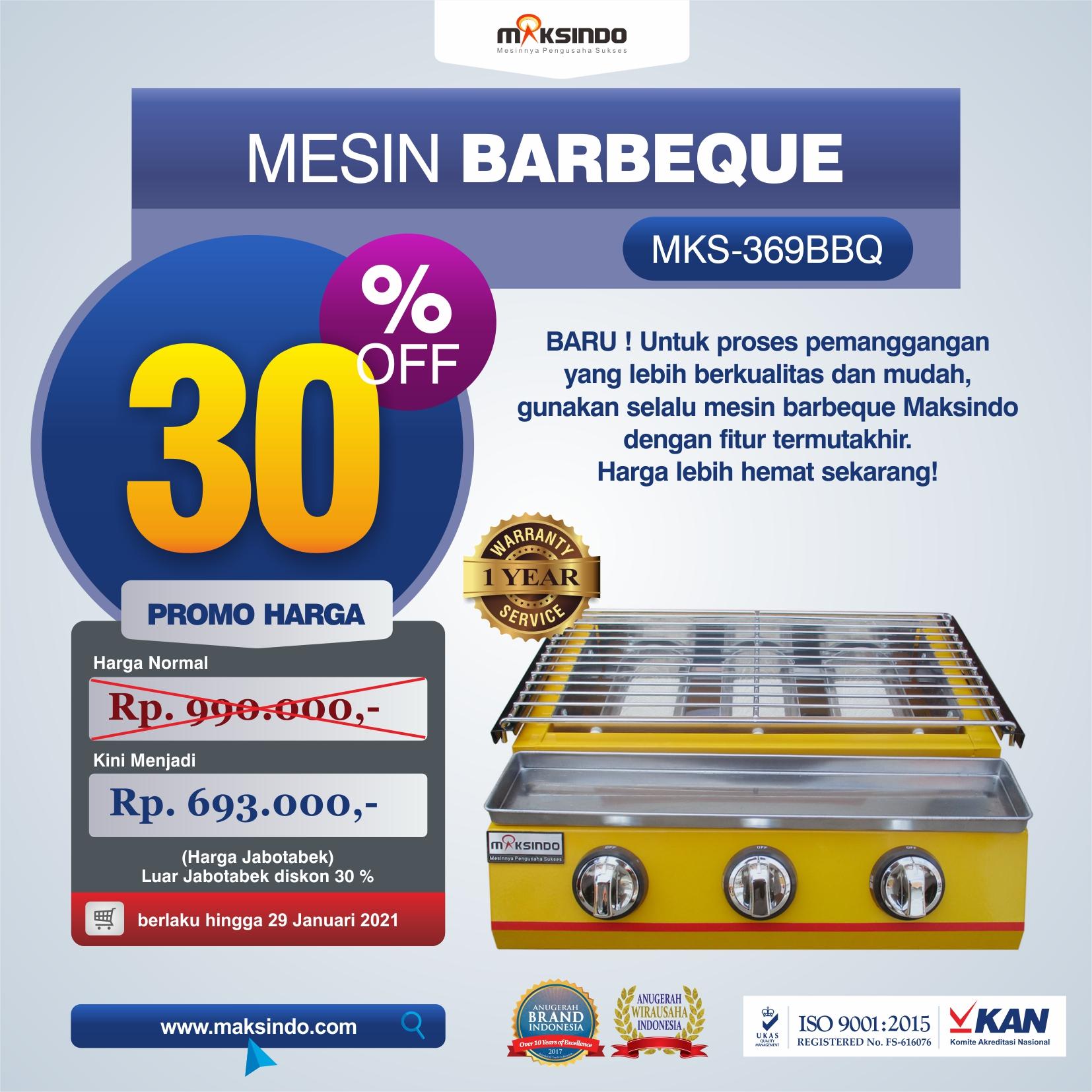 Jual Mesin Pemanggang Sate – BBQ 3 Tungku (Gas) MKS-369BBQ di Semarang