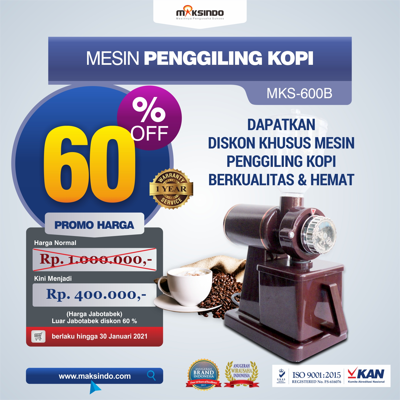Jual Mesin Penggiling Kopi (MKS-600B) di Semarang