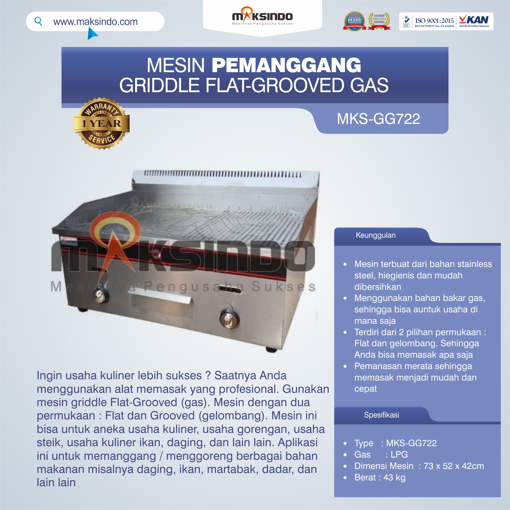 Jual Pemanggang Griddle Flat-Grooved Gas (GG722) di Semarang