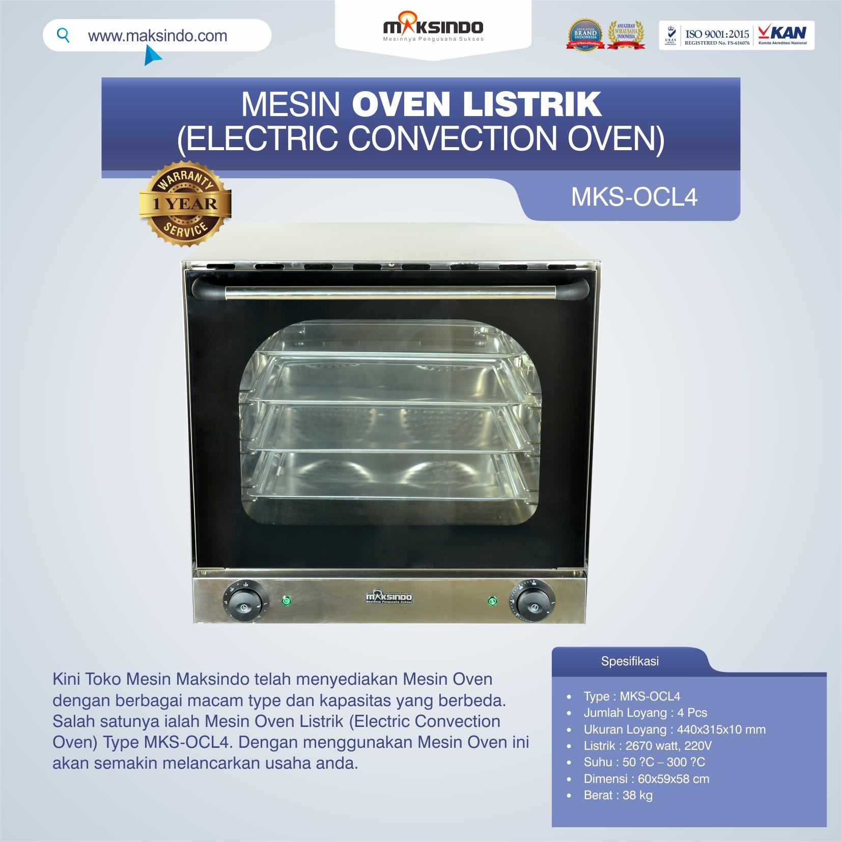 Jual Mesin Oven Listrik (Electric Convection Oven) MKS-OCL4 di Semarang