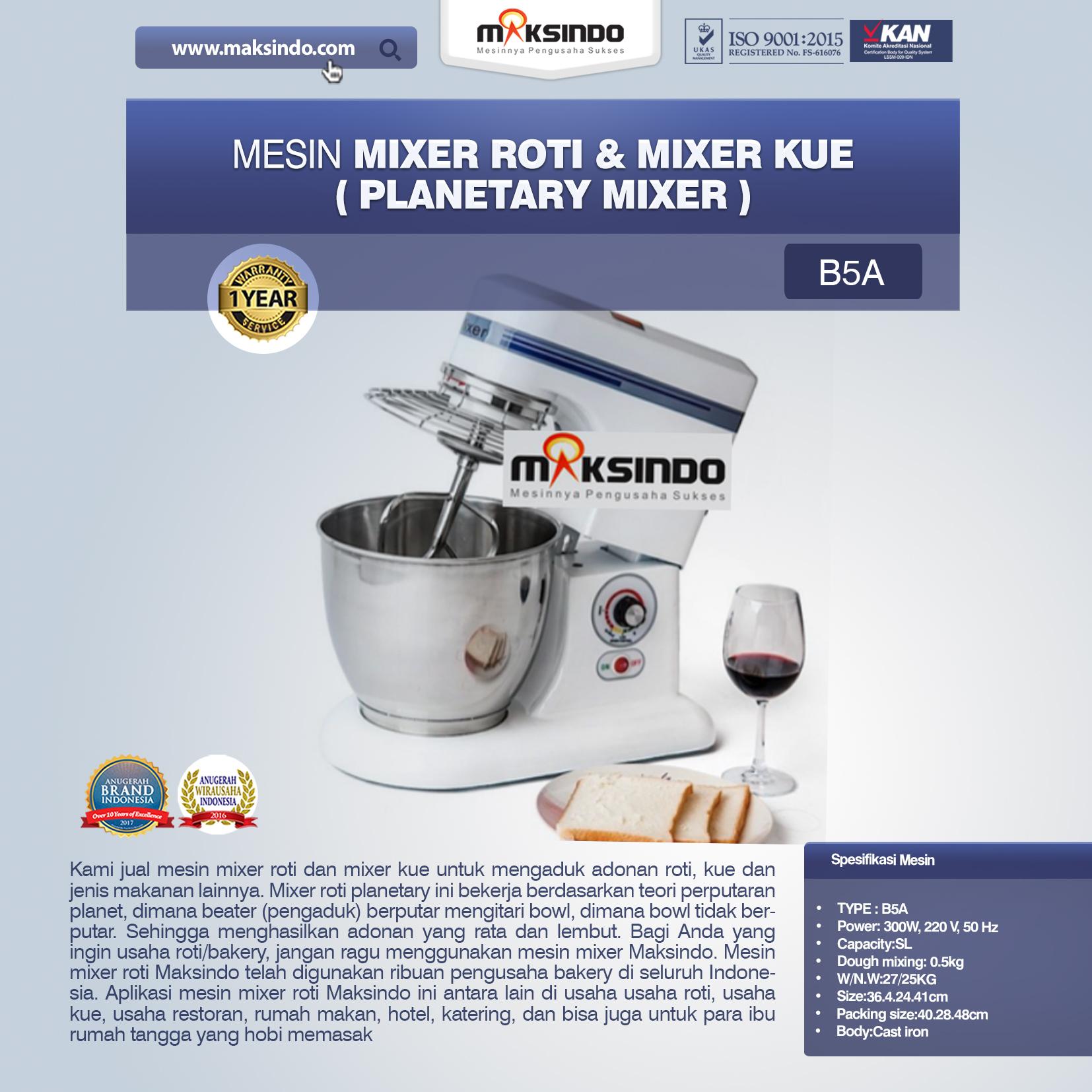 Jual Mesin Mixer Roti dan Kue Model Planetary di Semarang