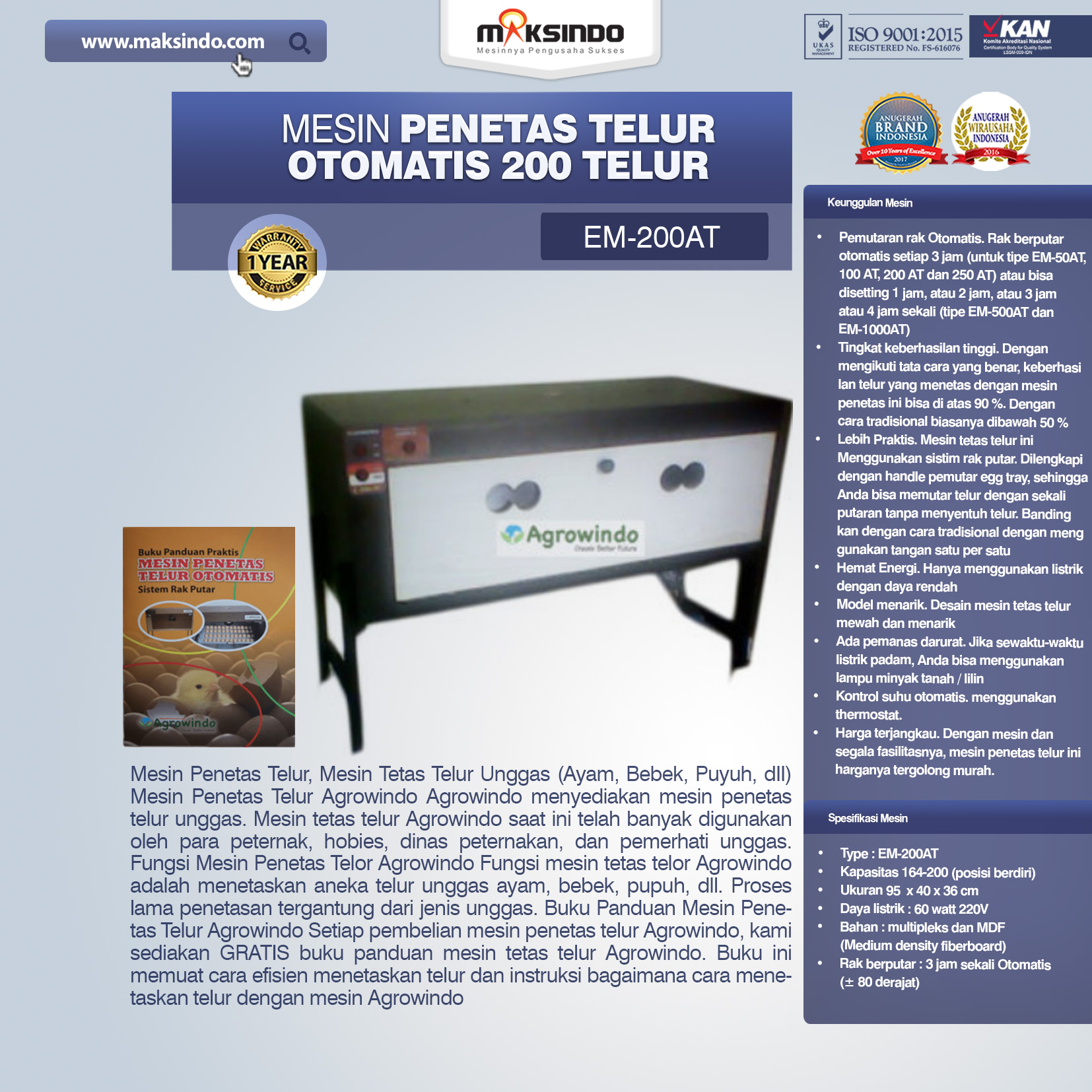 Jual Mesin Penetas Telur Otomatis 200 Telur (EM-200AT) di Semarang