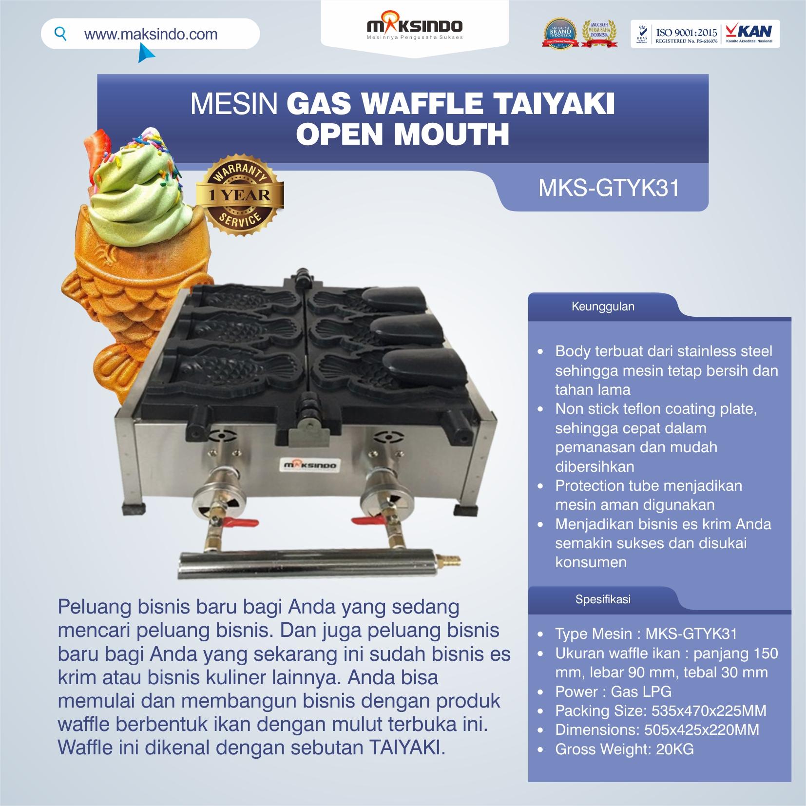 Jual Mesin Gas Waffle Taiyaki Open Mouth (GTYK31) di Semarang
