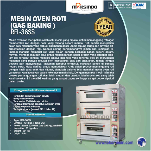 Jual Mesin Oven Roti Gas 6 Loyang (MKS-RS36) di Semarang
