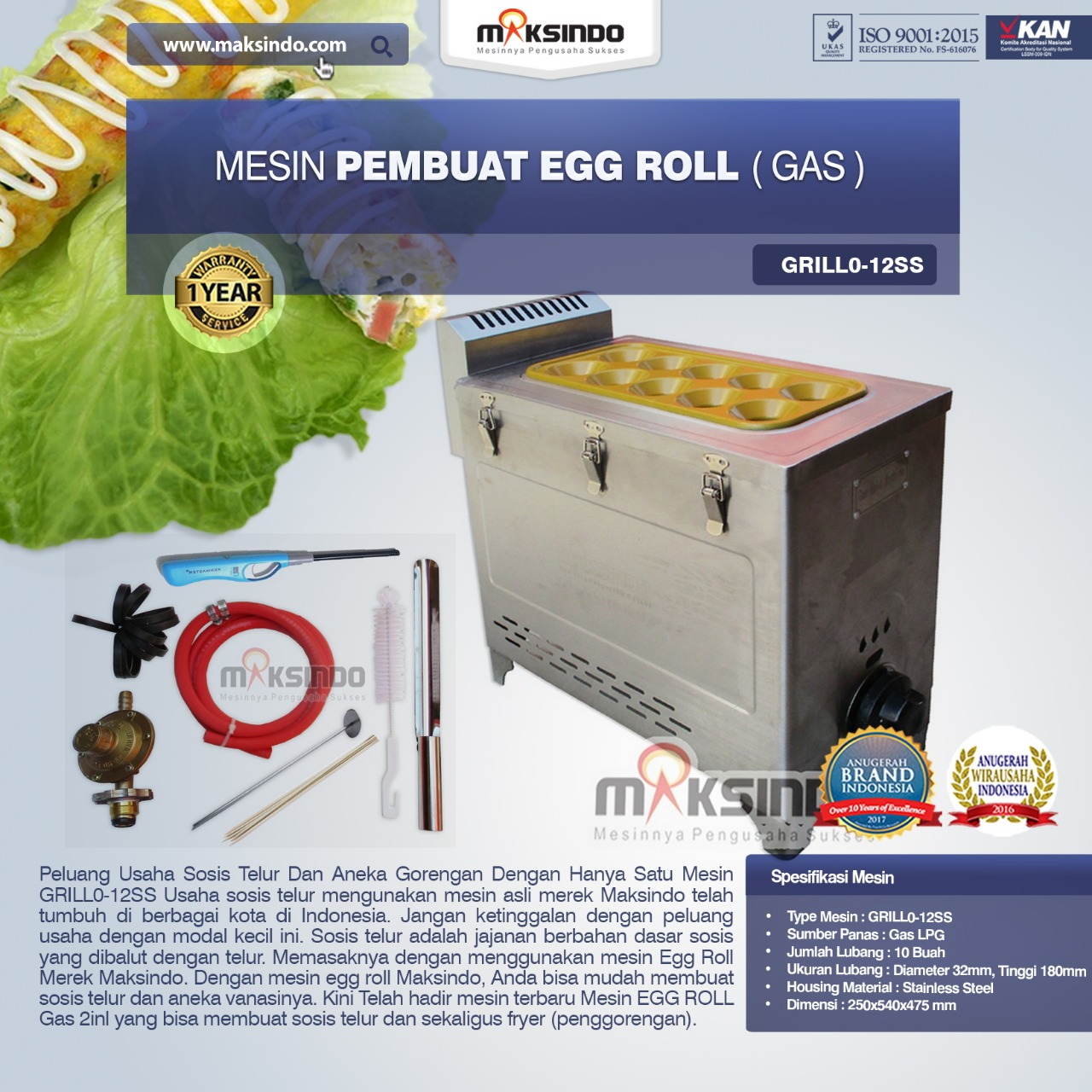 Jual Mesin Pembuat Egg Roll (Gas) GRILLO-12SS di Semarang