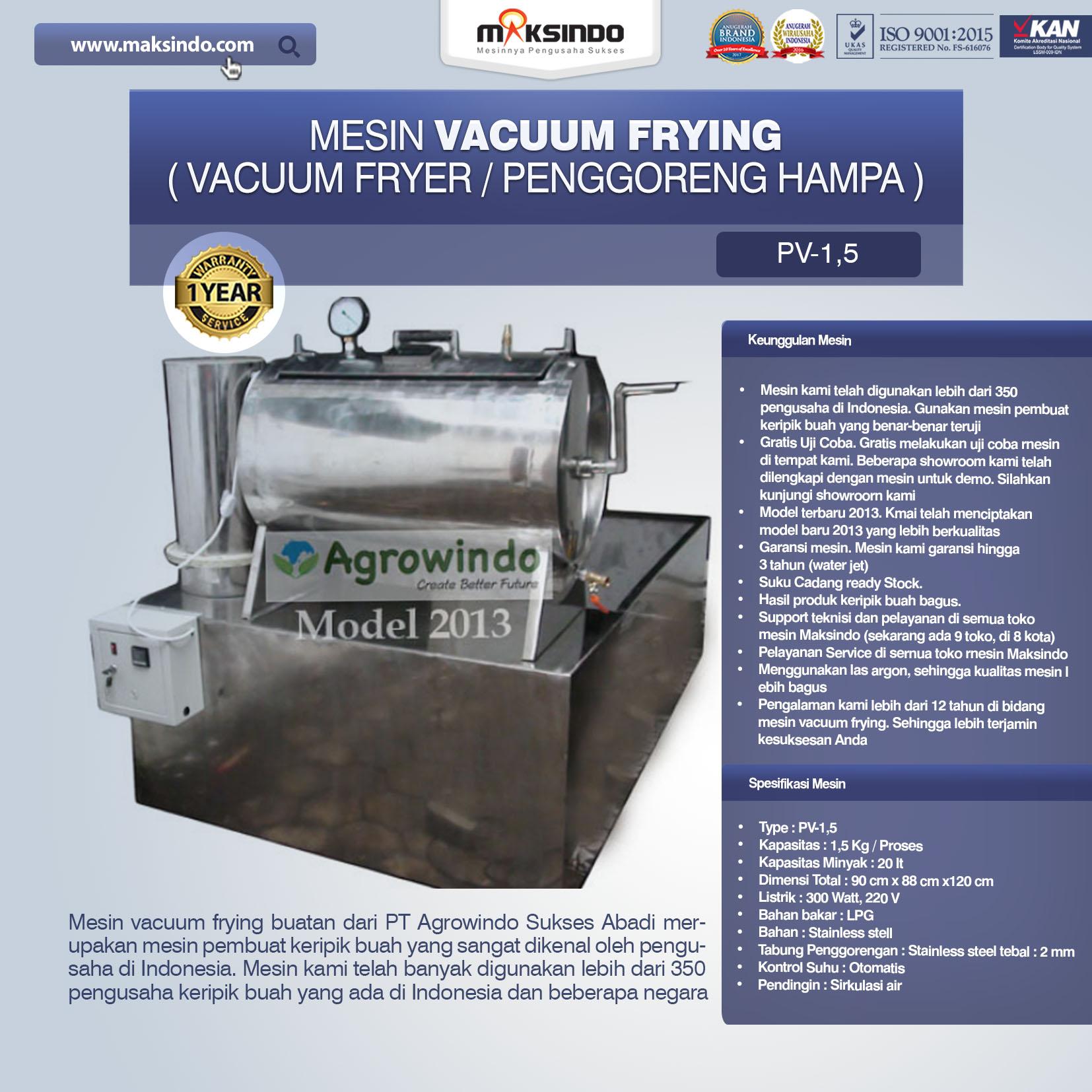 Jual Mesin Vacuum Frying Kapasitas 1.5 kg di Semarang