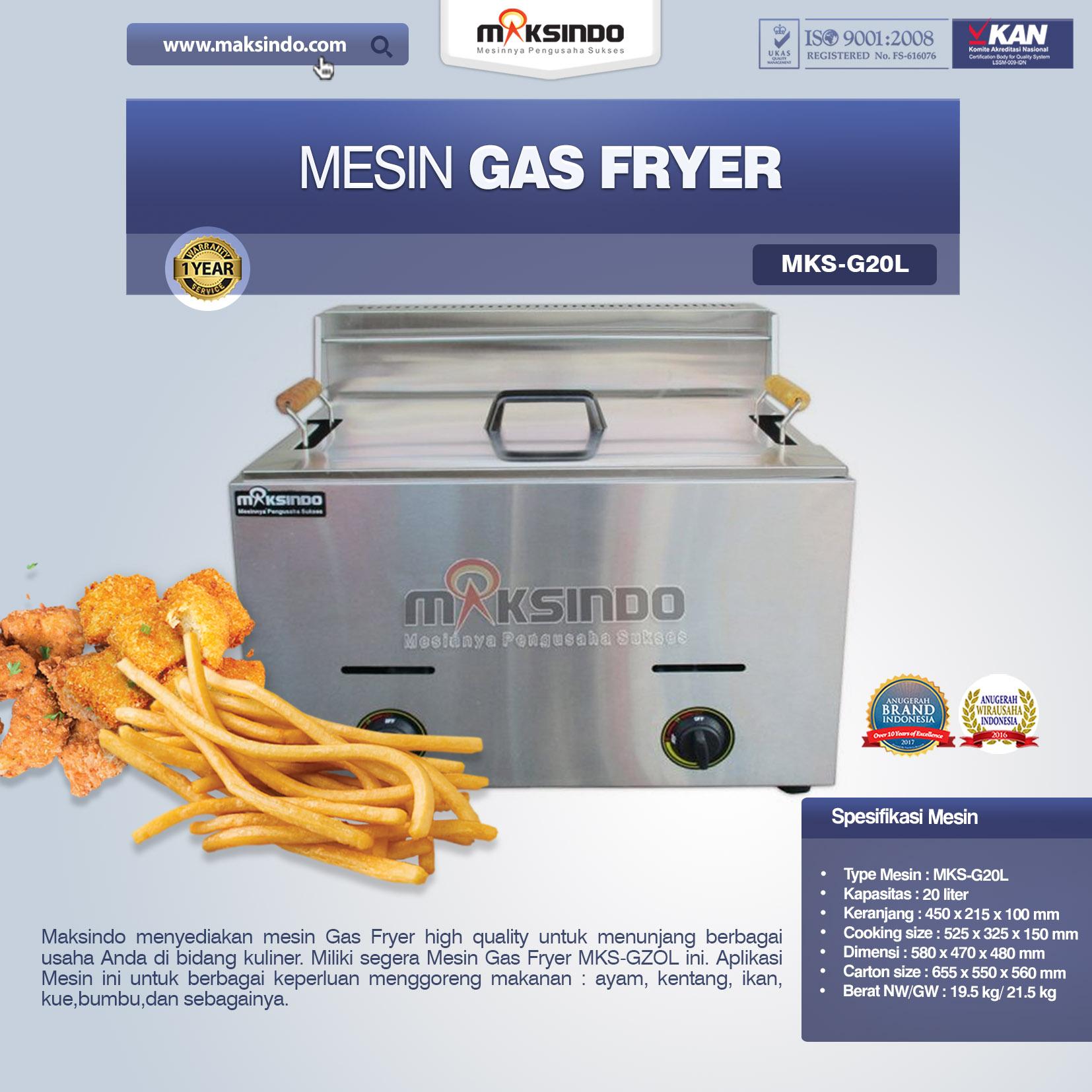 Jual Mesin Gas Fryer MKS-G20L Di Semarang