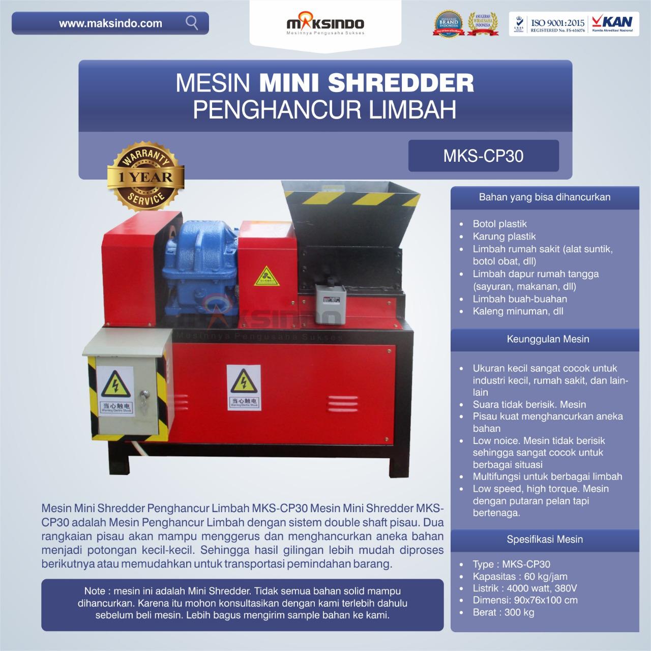 Jual Mesin Mini Shredder Penghancur Limbah MKS-CP30 di Semarang
