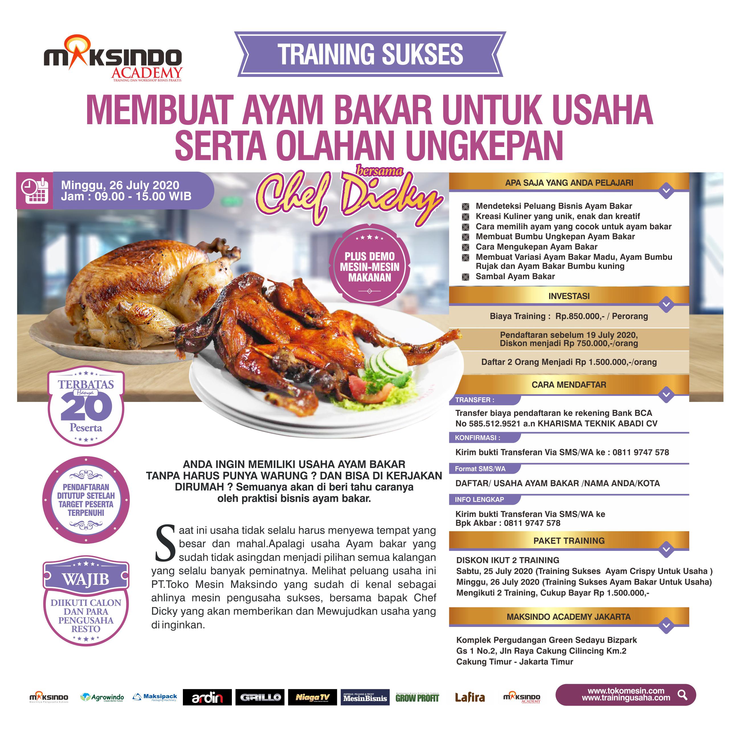 Traning Sukses  Membuat Ayam Bakar Untuk Usaha Minggu, 26 July 2020