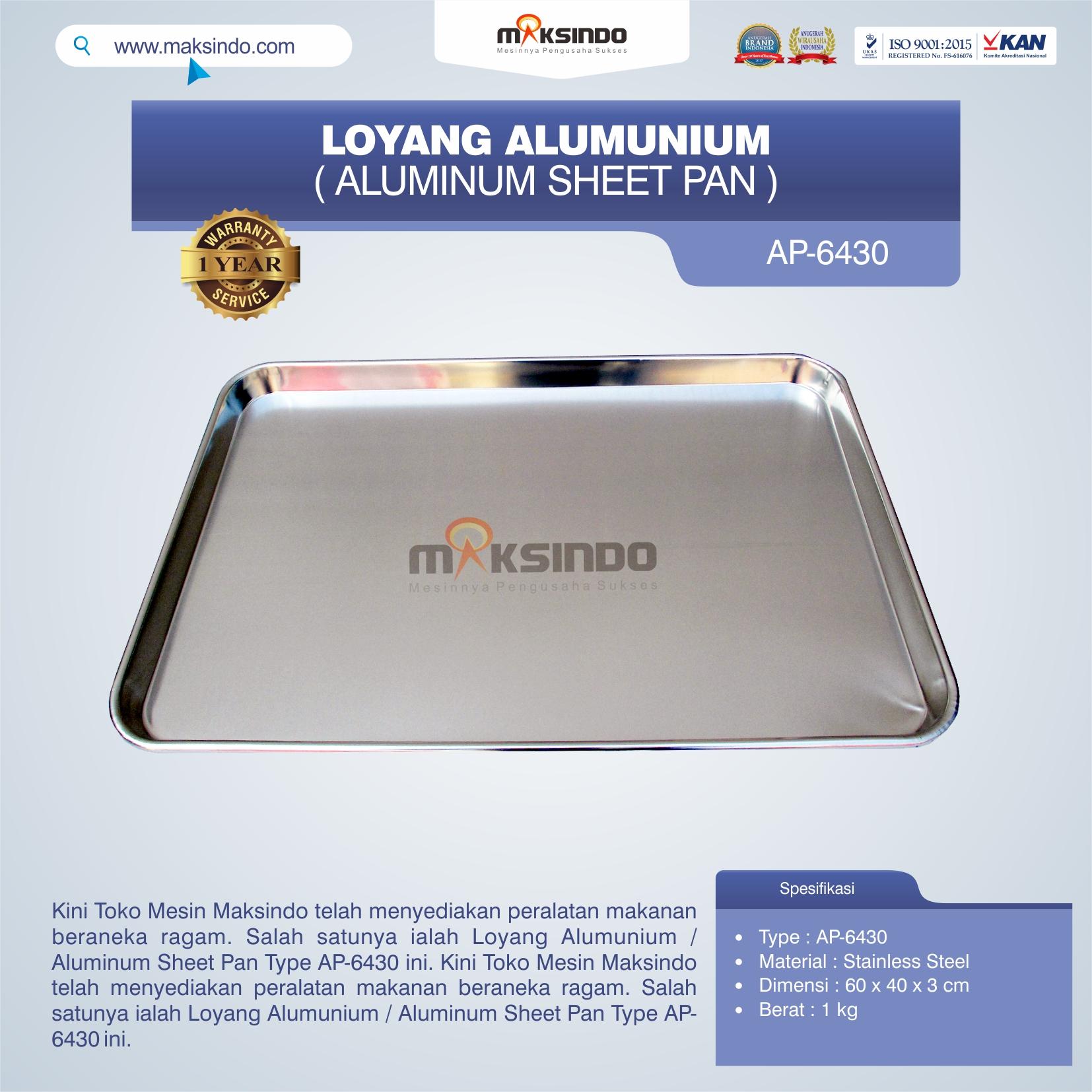 Jual Loyang Alumunium / Aluminum Sheet Pan Type AP-6430 di Semarang