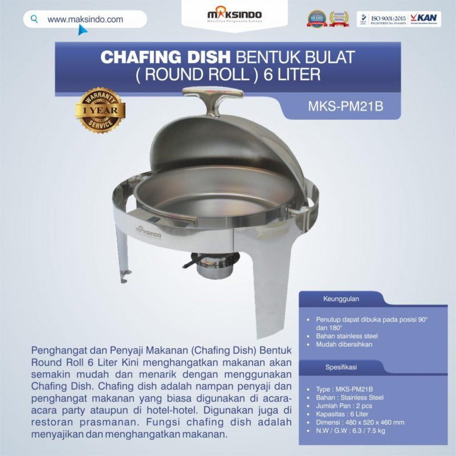 Jual Chafing Dish Bentuk Bulat (Round Roll) 6 Liter di Semarang