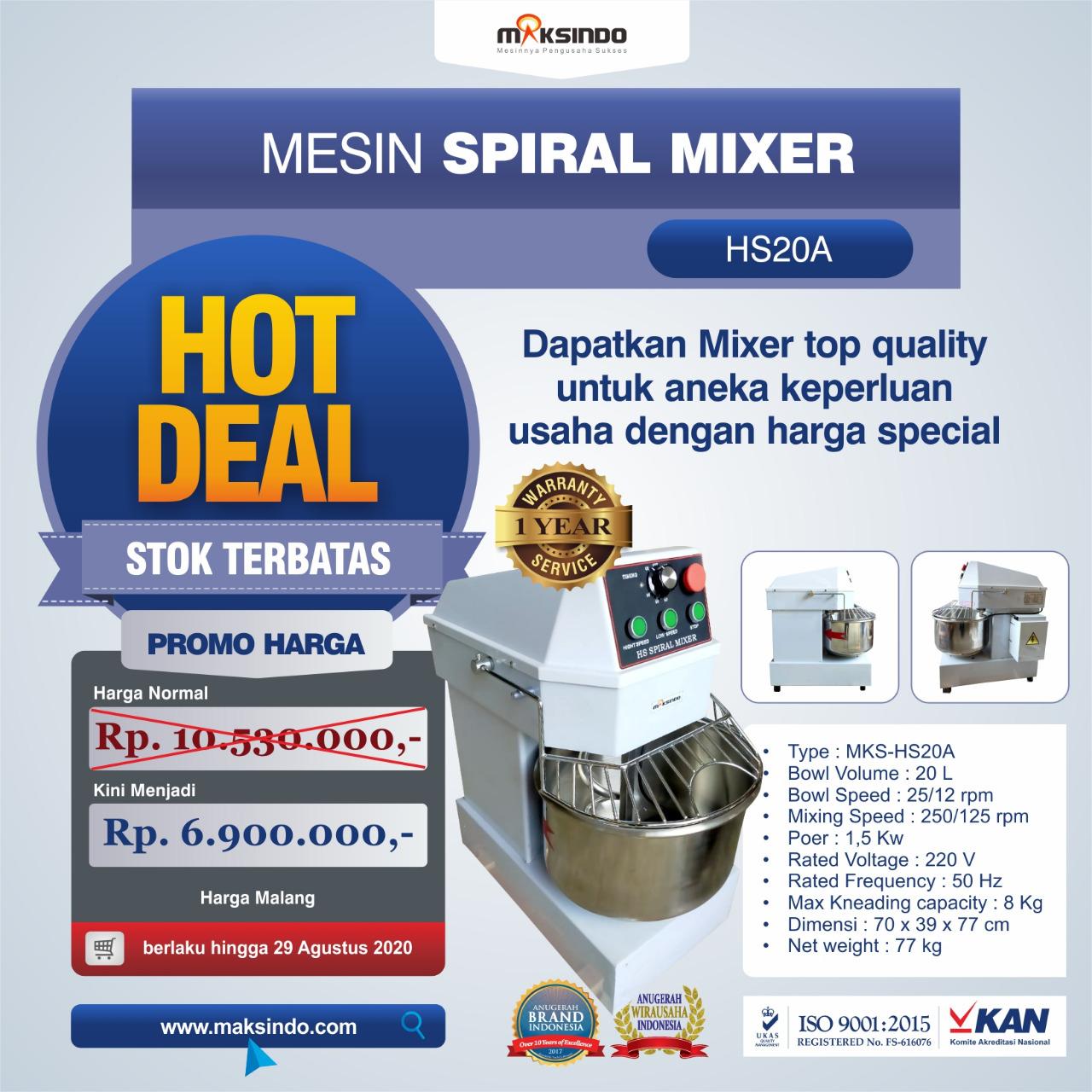 Jual Mesin Mixer Roti SPIRAL MKS-HS20A di Semarang