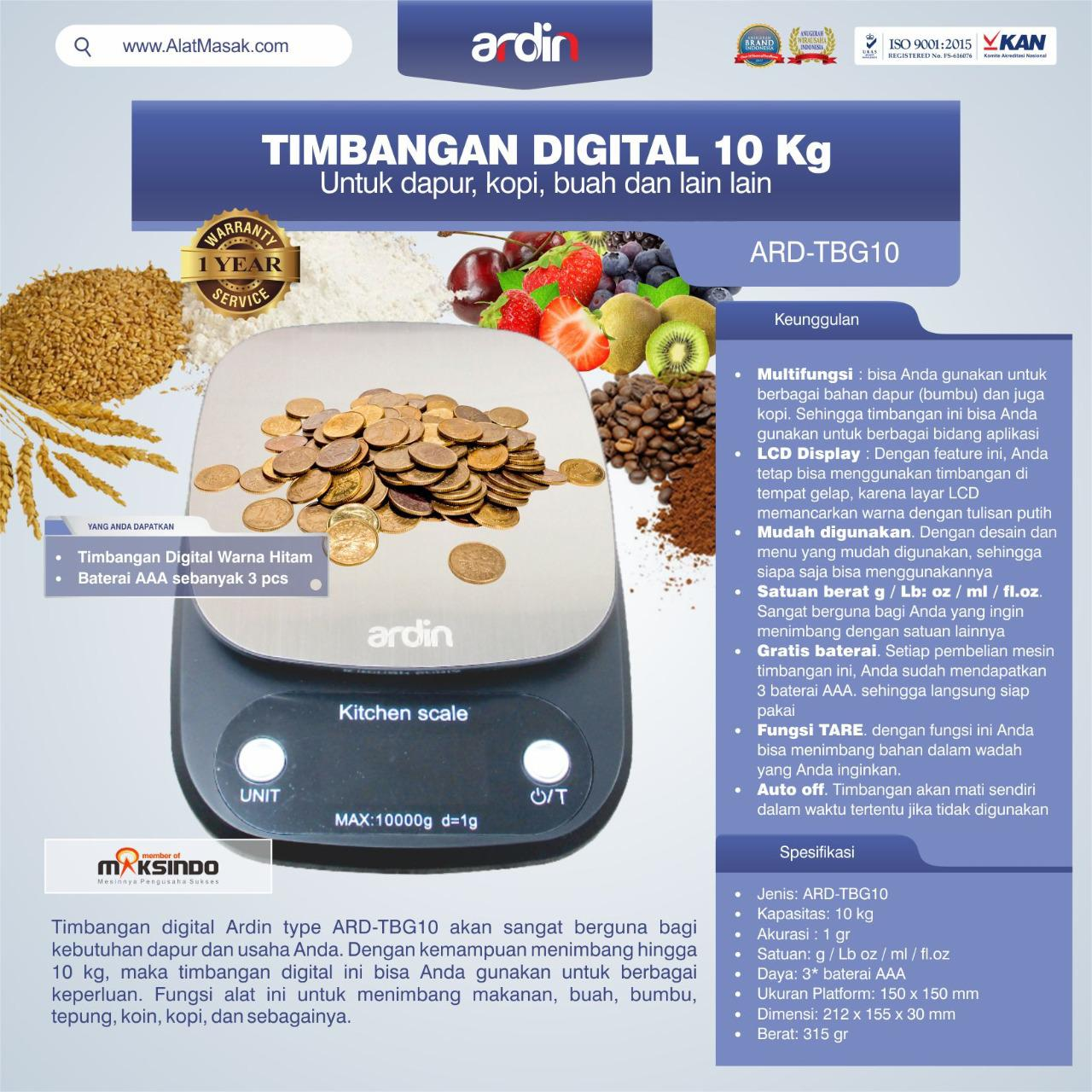 Jual Timbangan Digital 10 kg / Timbangan Kopi ARD-TBG10 di Semarang