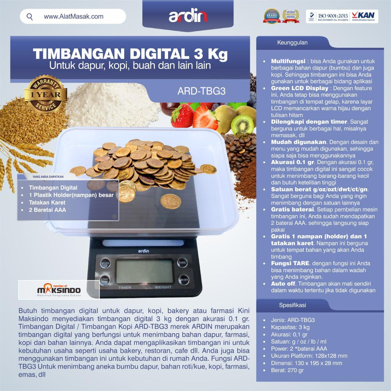 Jual Timbangan Digital 3 kg / Timbangan Kopi ARD-TBG3 di Semarang