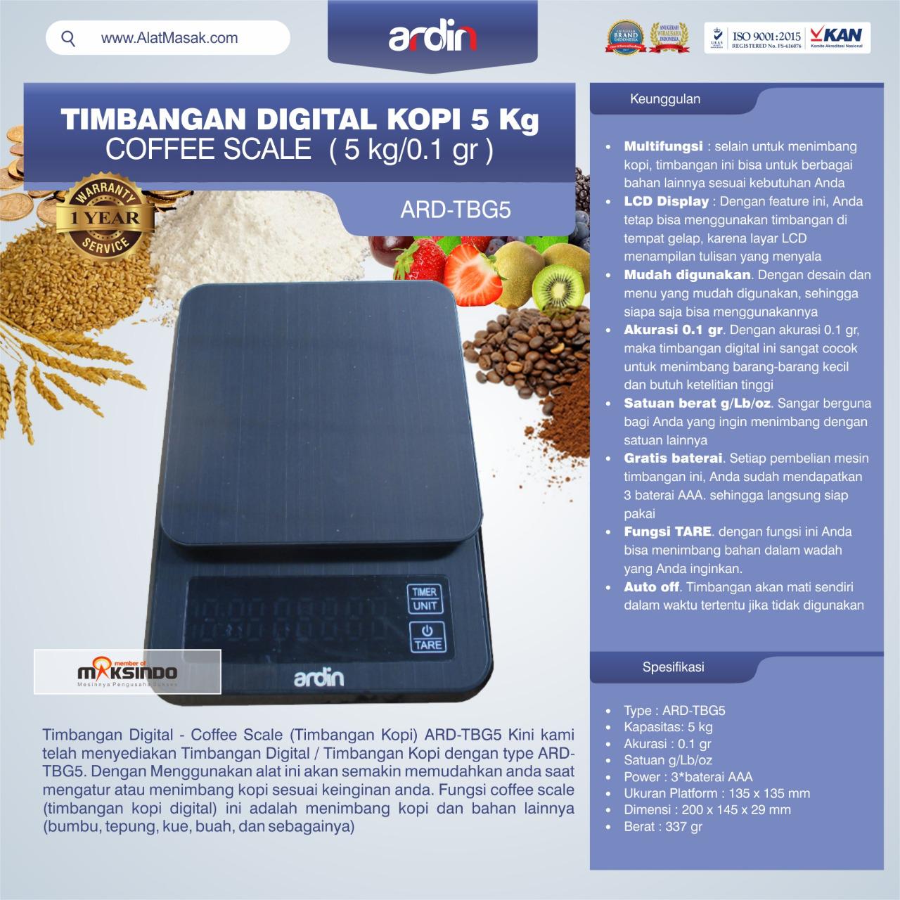 Jual Timbangan Digital Kopi 5 kg ARD-TBG5 (coffee scale) di Semarang