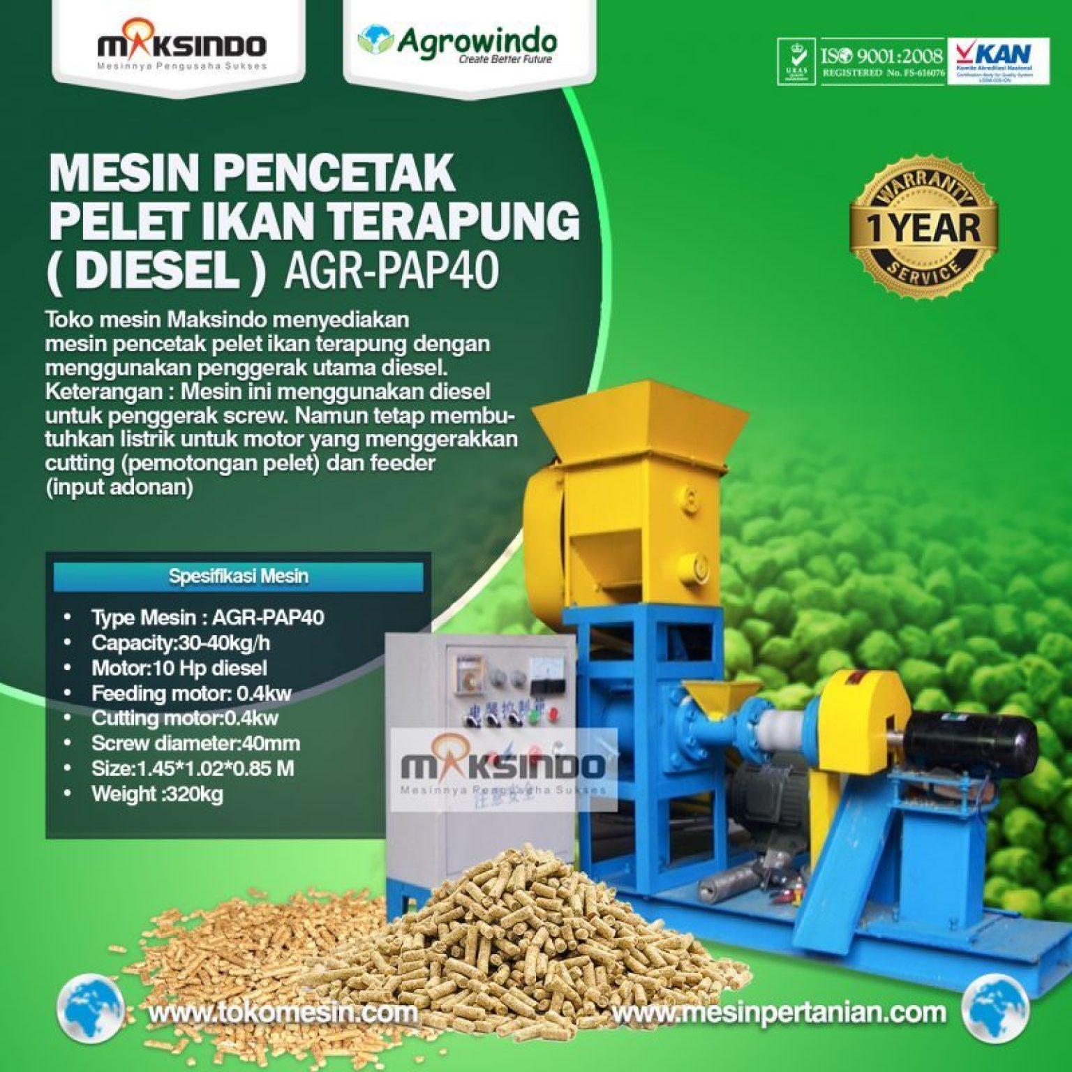 Mesin Pelet Ikan Terapung (diesel) AGR-PAP40