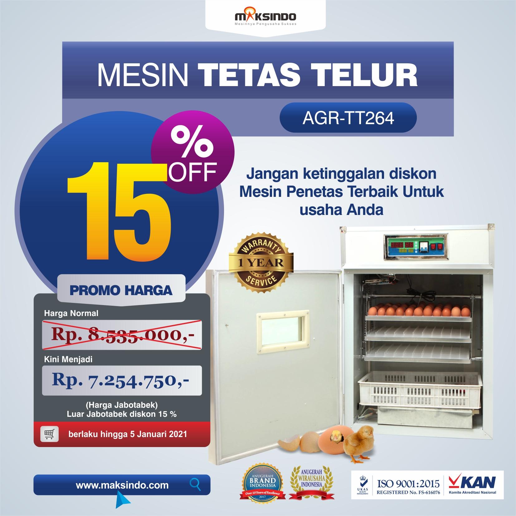 Jual Mesin Tetas Telur Industri 264 Butir (Industrial Incubator) di Semarang
