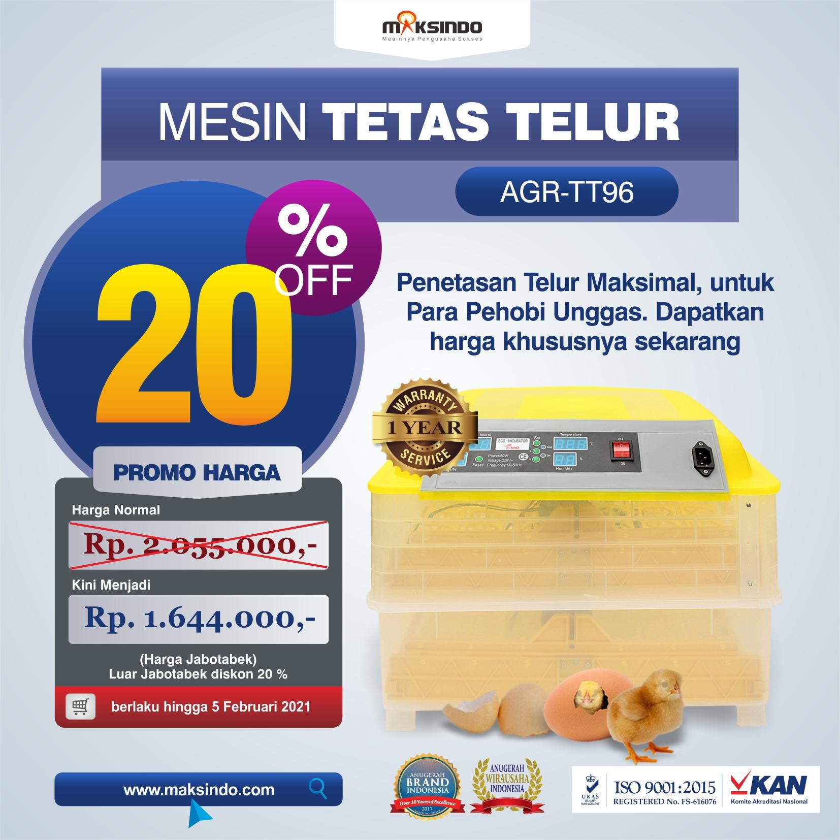 Jual Mesin Penetas Telur 96 Butir Otomatis – AGR-TT96 di Semarang