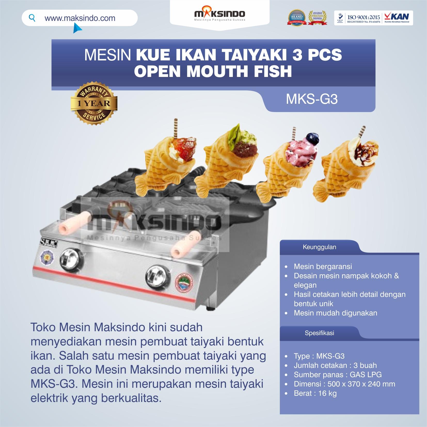Jual Mesin Kue Ikan Taiyaki (3 pcs) – Open Mouth Fish di Semarang