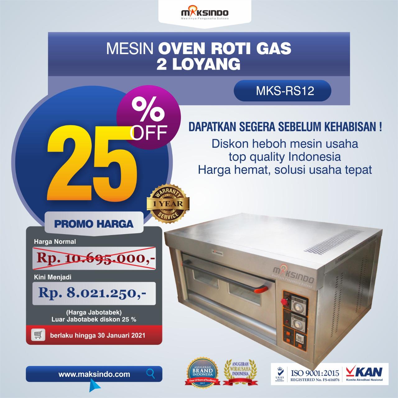 Jual Mesin Oven Roti Gas 2 Loyang (MKS-RS12) di Semarang